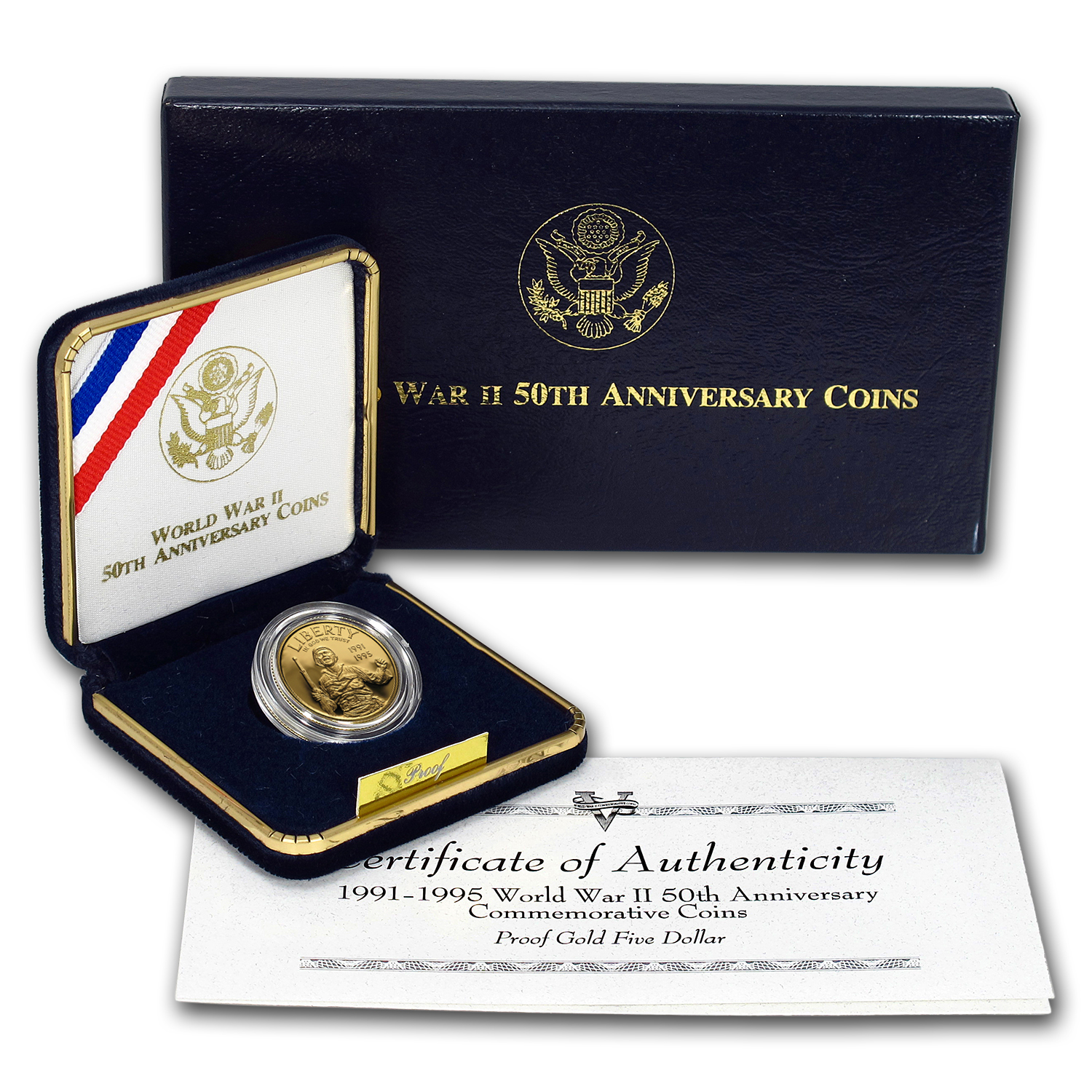 1993-W Gold $5 Commem World War II Proof (w/Box & COA)