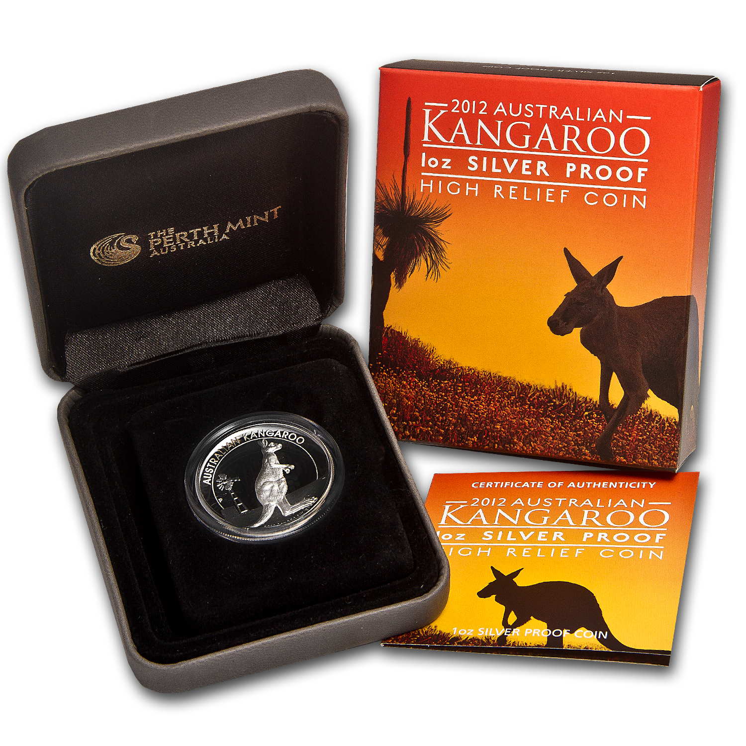 2012 1 oz Proof Silver Australian High Relief Kangaroo