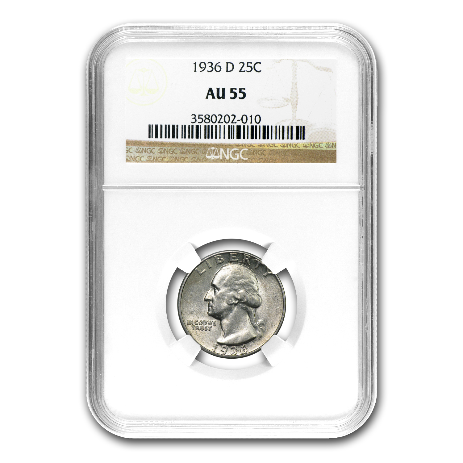 1936-D Washington Quarter AU-55 NGC