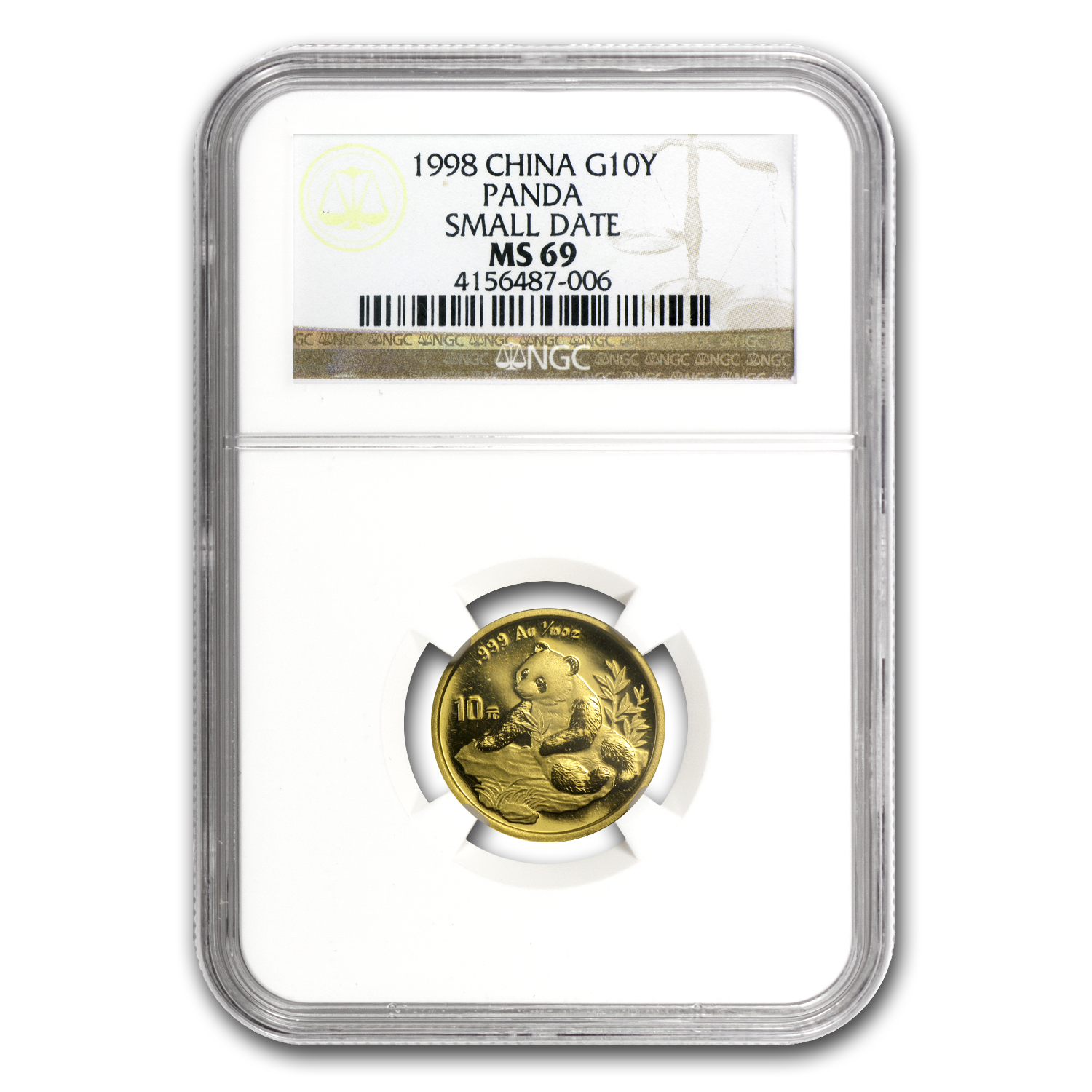 1998 China 1/10 oz Gold Panda Small Date MS-69 NGC