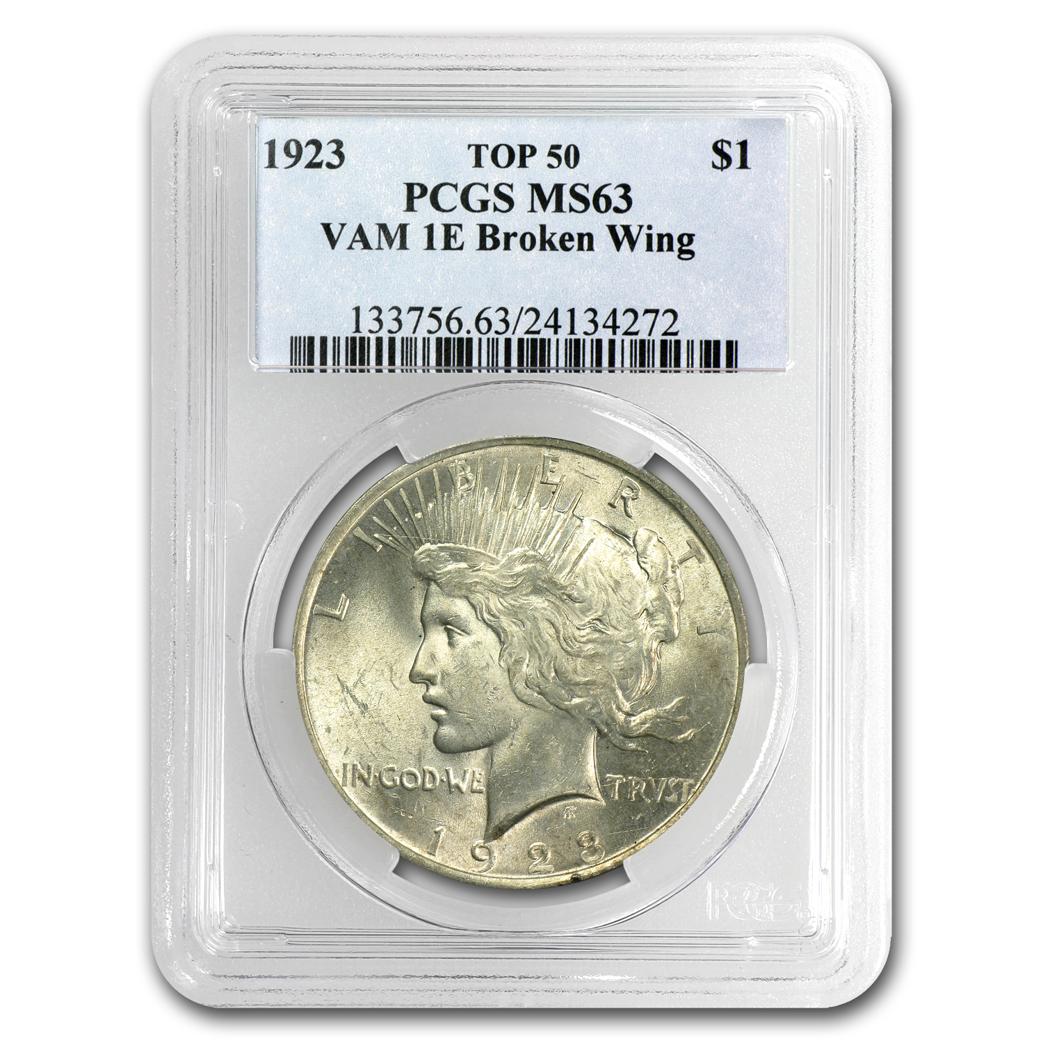 1923 Peace Dollar MS-63 PCGS (VAM-1E, Broken Wing, Top-50)