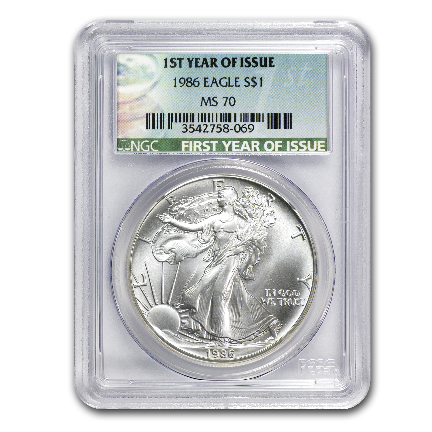 1986 Silver American Eagle MS-70 NGC (1st Year of Issue Label)