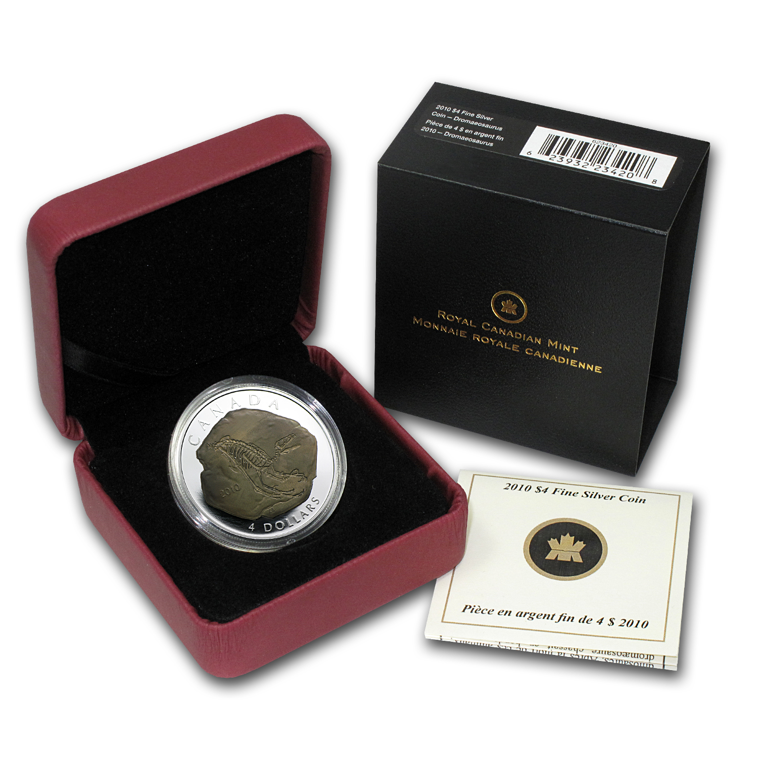 2010 Can 1/2 oz Silver $4 Dromaeosaurus Fossil Proof (w/Box)