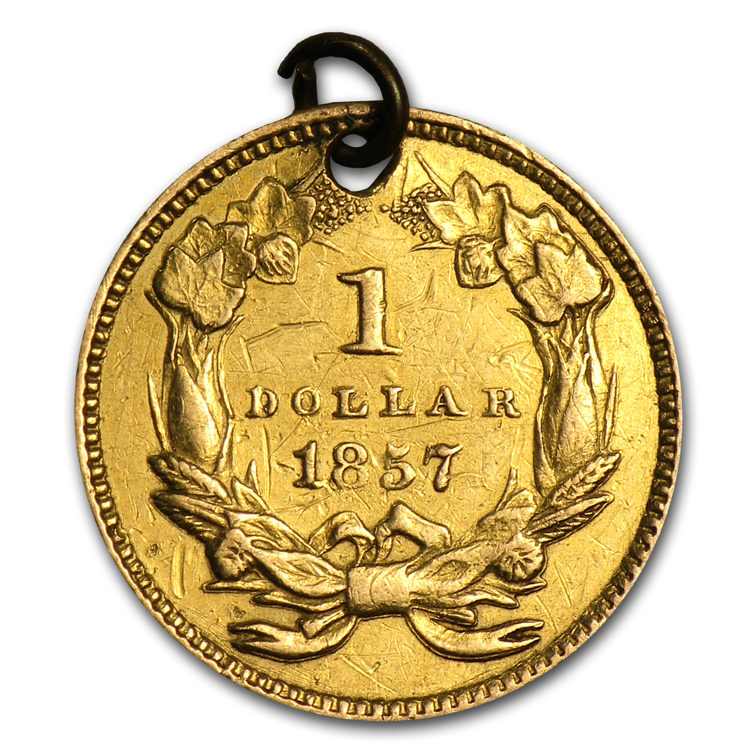 $1.00 Liberty Gold-Type III - 1857 Love Token - C L Z