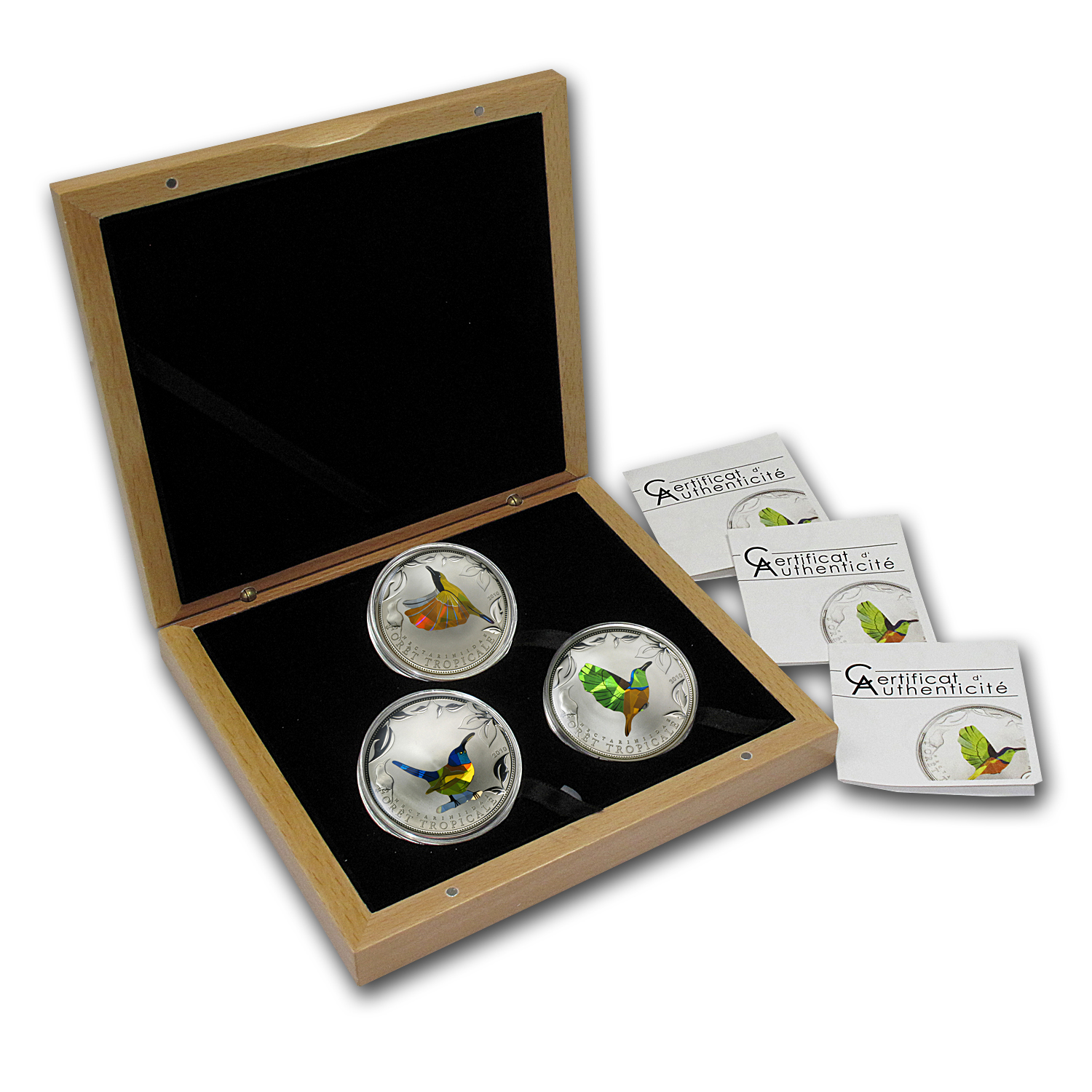 Togo 2010 Proof Silver Rainforest Wildlife Sunbirds - 3 Coin Set
