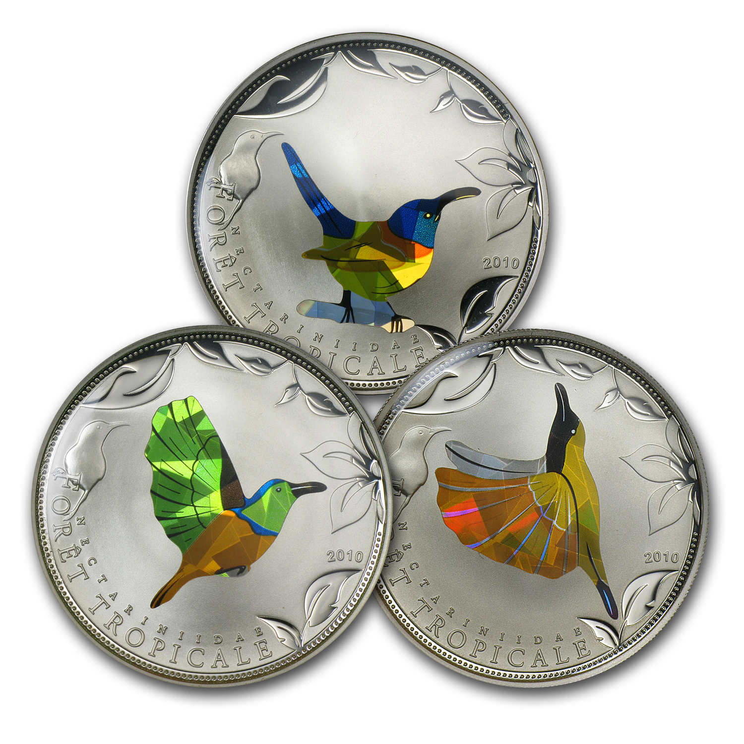 2010 Togo 3-Coin Silver Rainforest Wildlife Sunbirds Proof Set