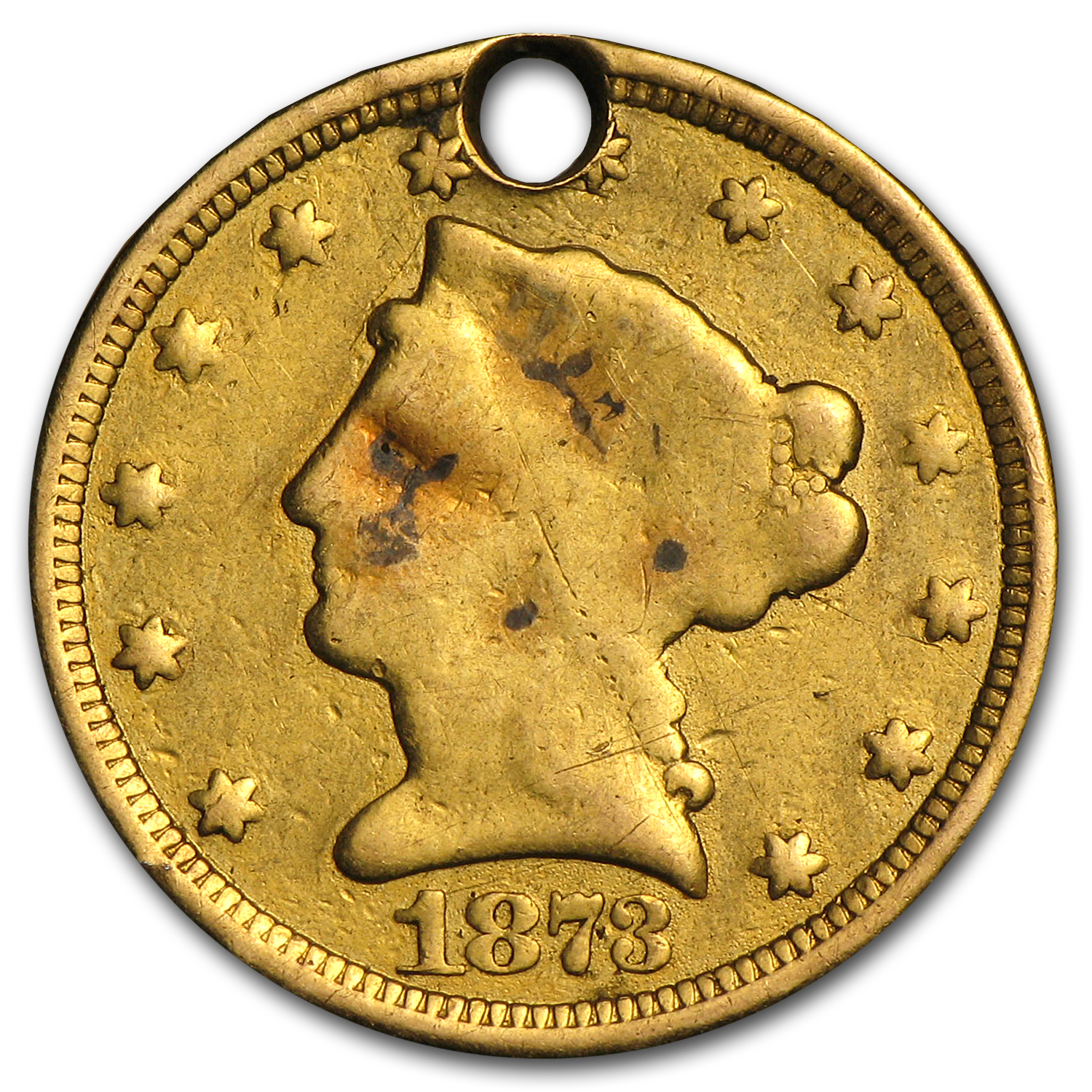 $2.50 Liberty Gold Quarter Eagle - 1873 Love Token - W B G