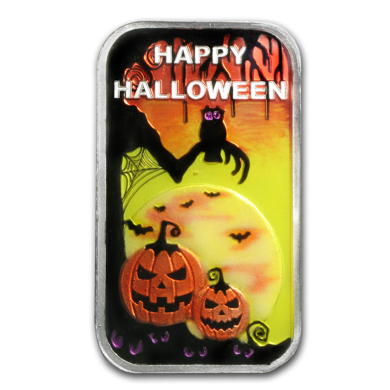 1 oz Silver Bar - Glow-in-the-Dark Halloween (w/Pouch & Capsule)