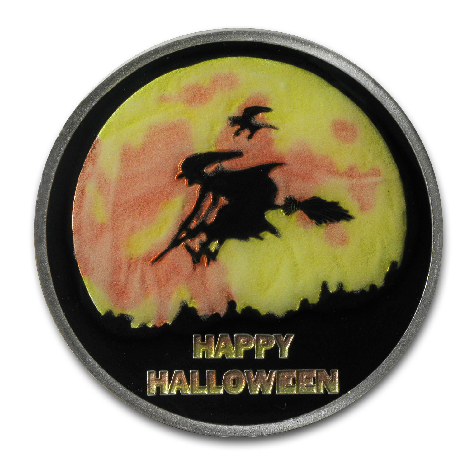 1 oz Silver Round - Glow-in-the-Dark Halloween (Pouch & Capsule)