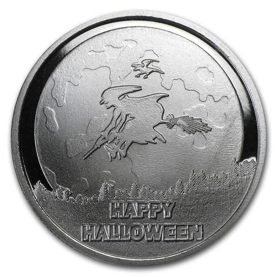 1 Oz Silver Round Happy Halloween W Pouch Amp Capsule