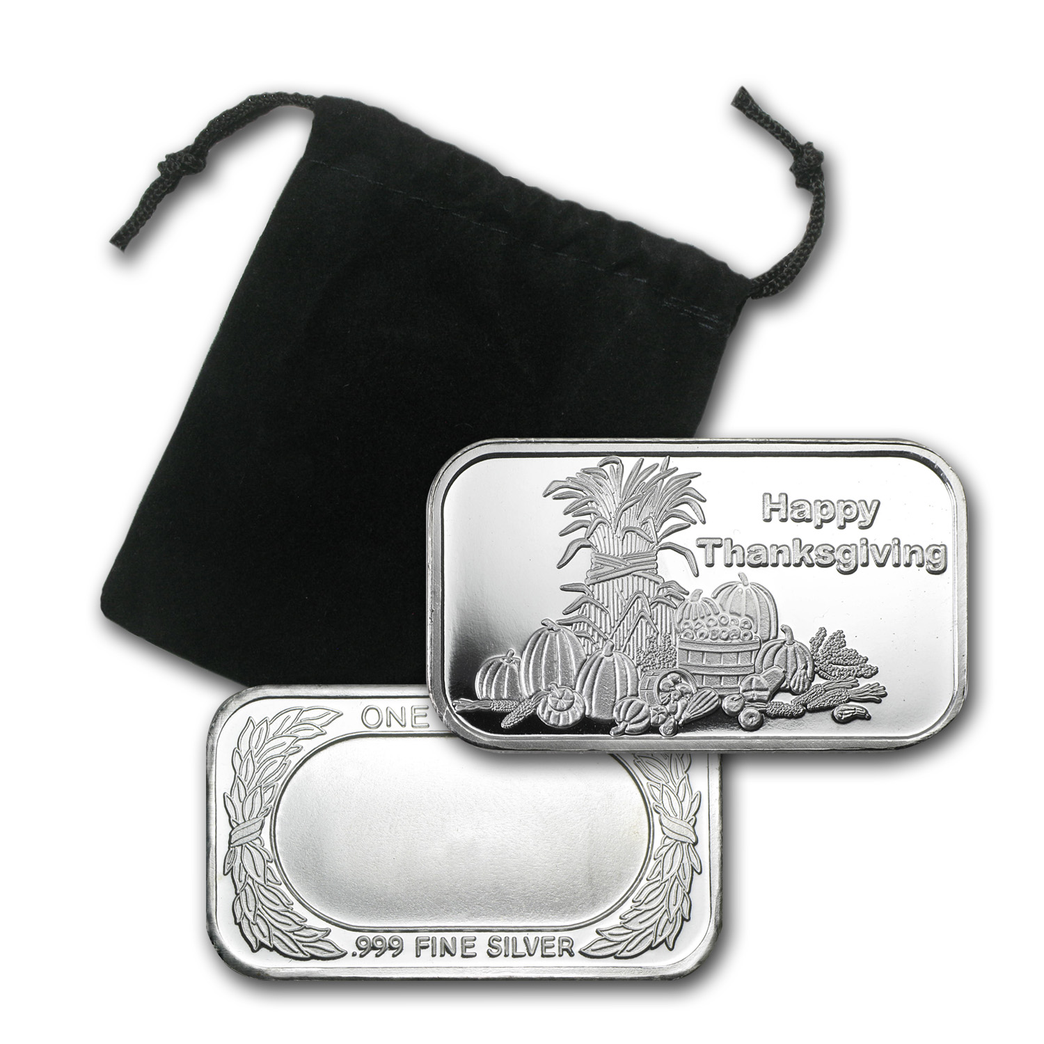 1 oz Silver Bar - Happy Thanksgiving (w/Box & Capsule)