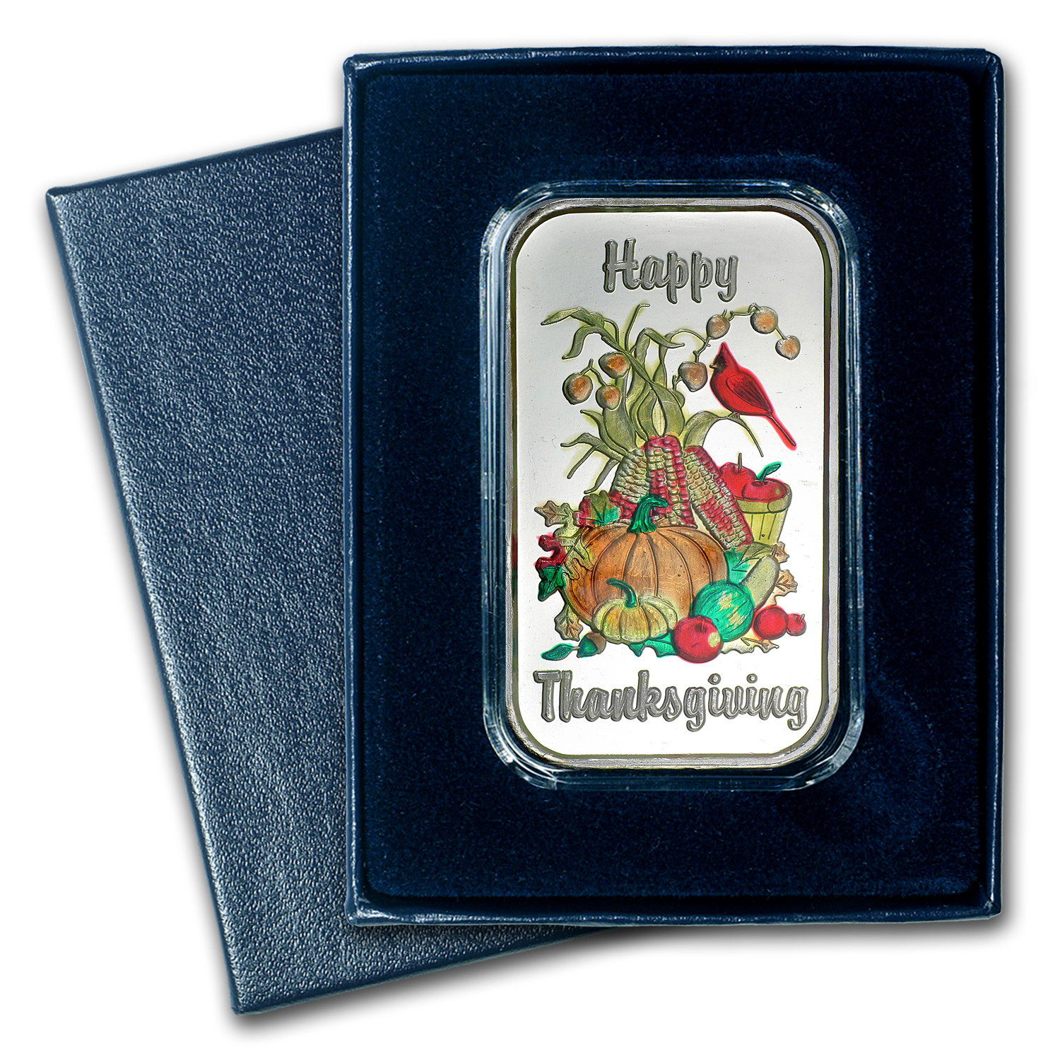 1 oz Silver Bar - Happy Thanksgiving (Enameled, w/Box & Capsule)