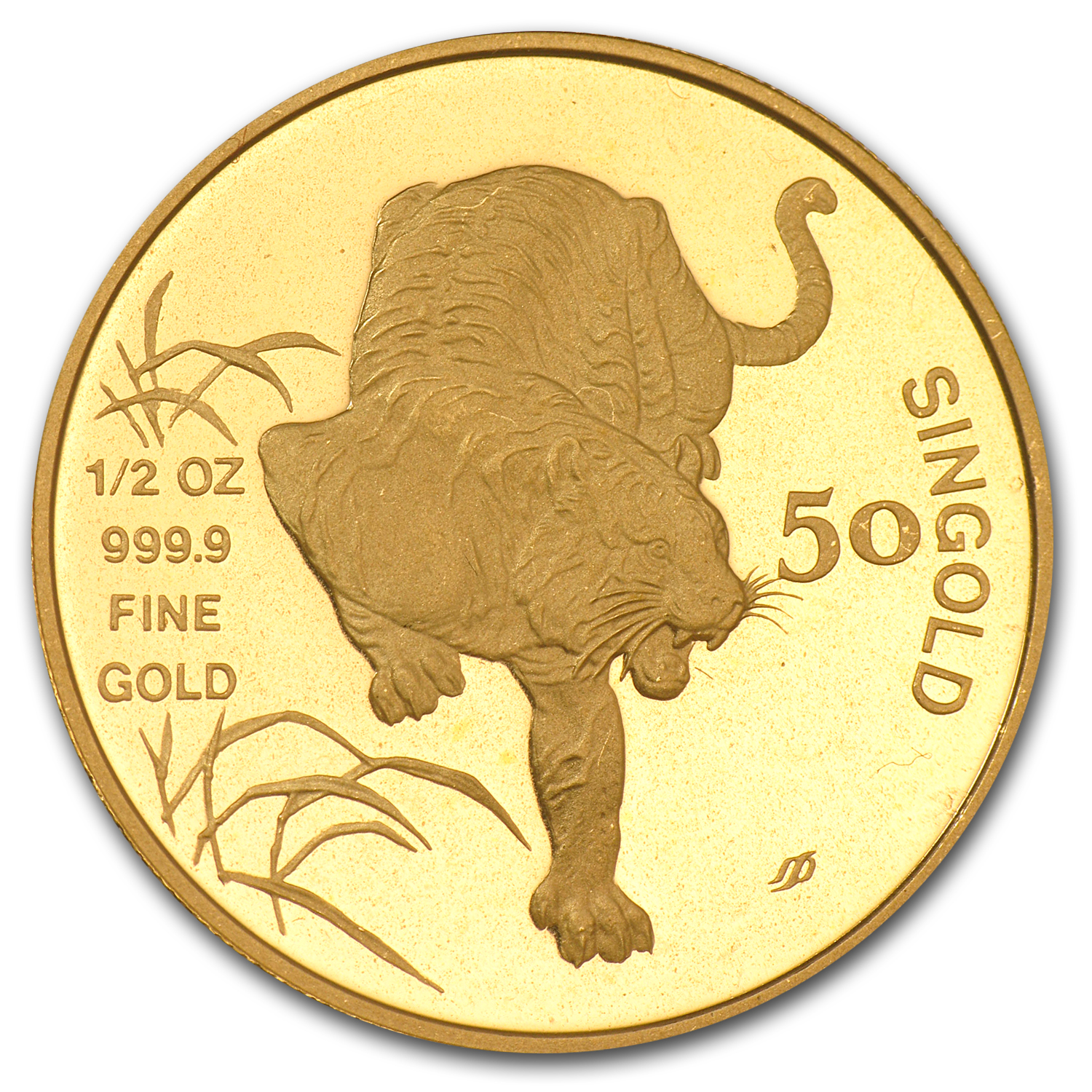 Singapore 1986 - Tiger 50 Singold (1/2 Oz) Gold Coin (Proof)
