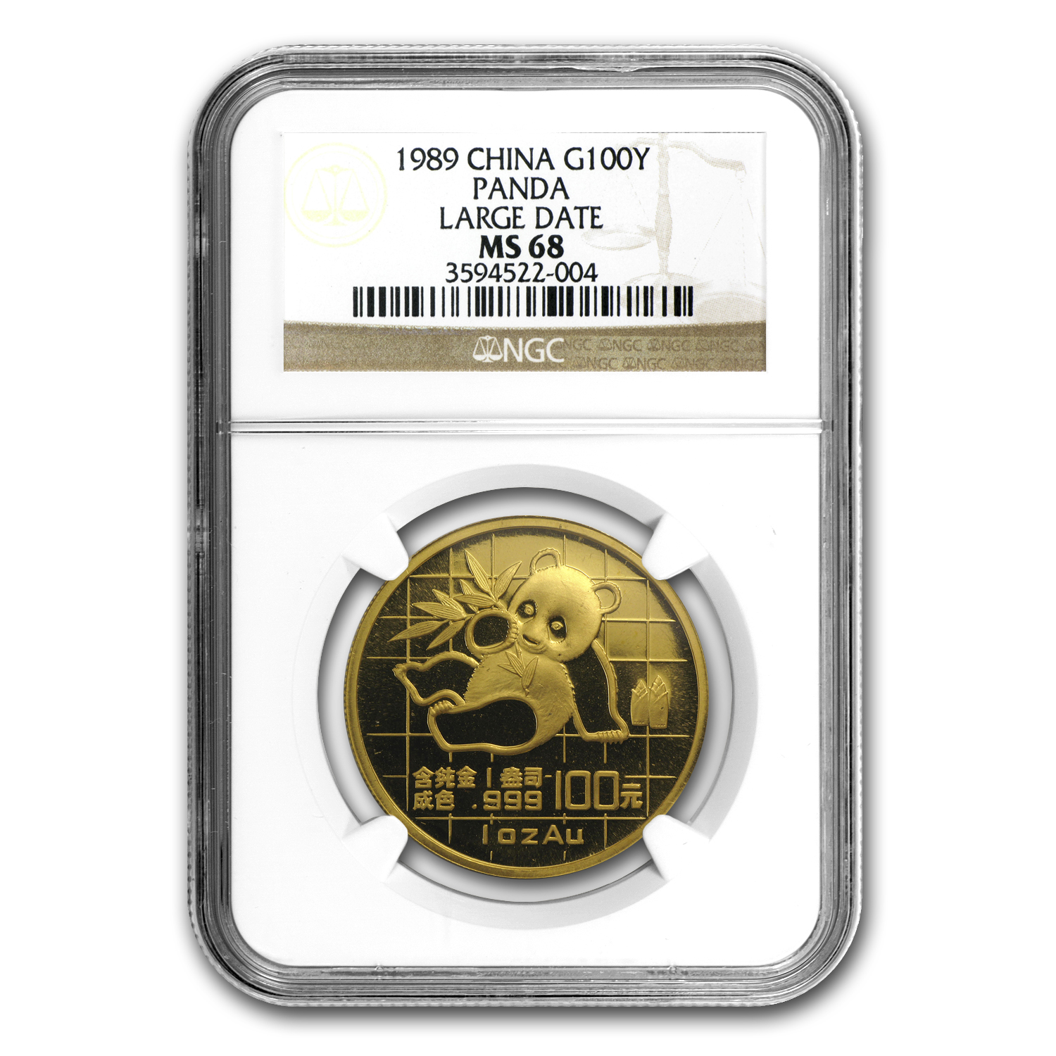 1989 1 oz Gold Chinese Panda Large Date MS-68 NGC
