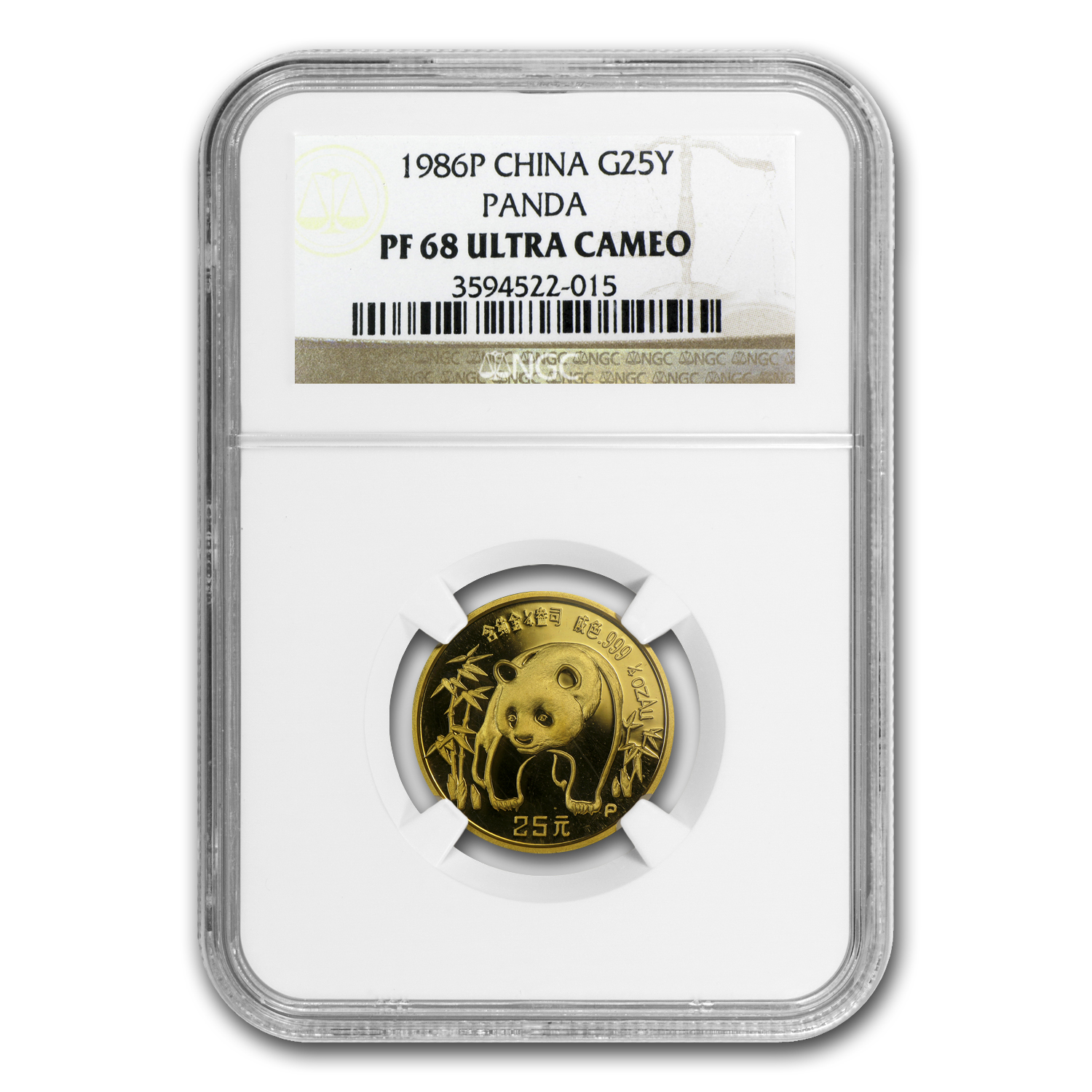 1986 1/4 oz Proof Gold Chinese Panda PF-68 NGC