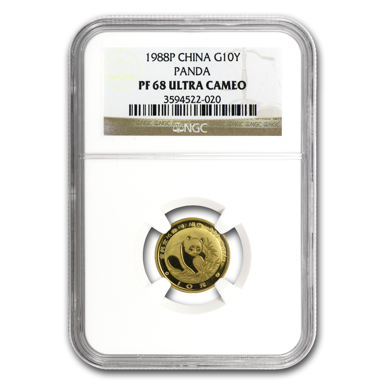 1988 (1/10 oz Proof) Gold Chinese Pandas - PF-68 UCAM NGC