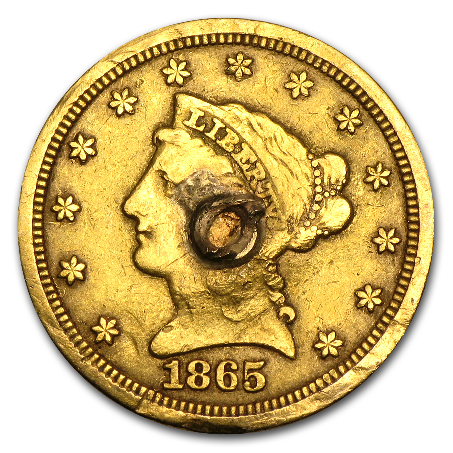 $2.50 Liberty Gold Quarter Eagle - 1865 Love Token - N P M
