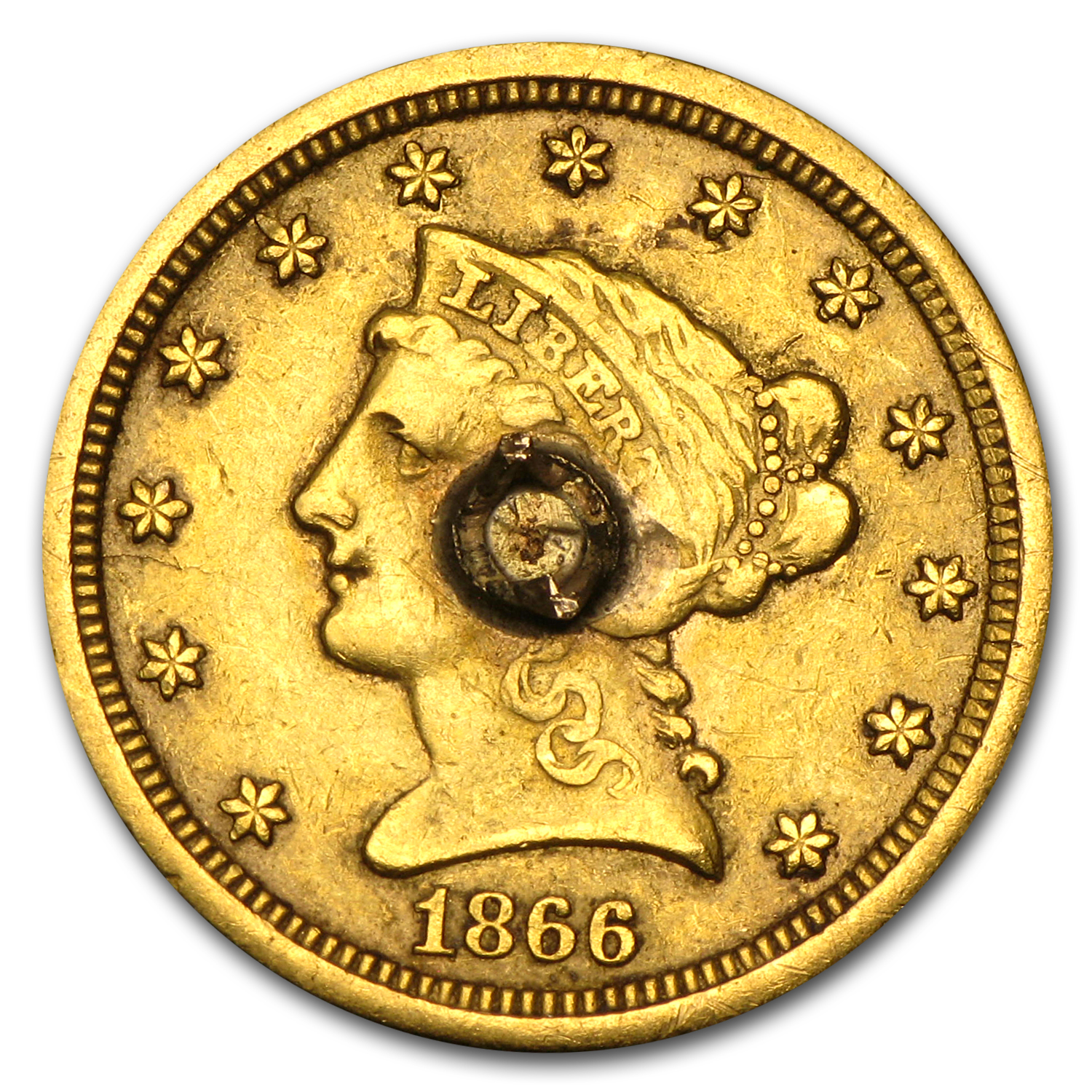 $2.50 Liberty Gold Quarter Eagle - 1866 Love Token - N P M