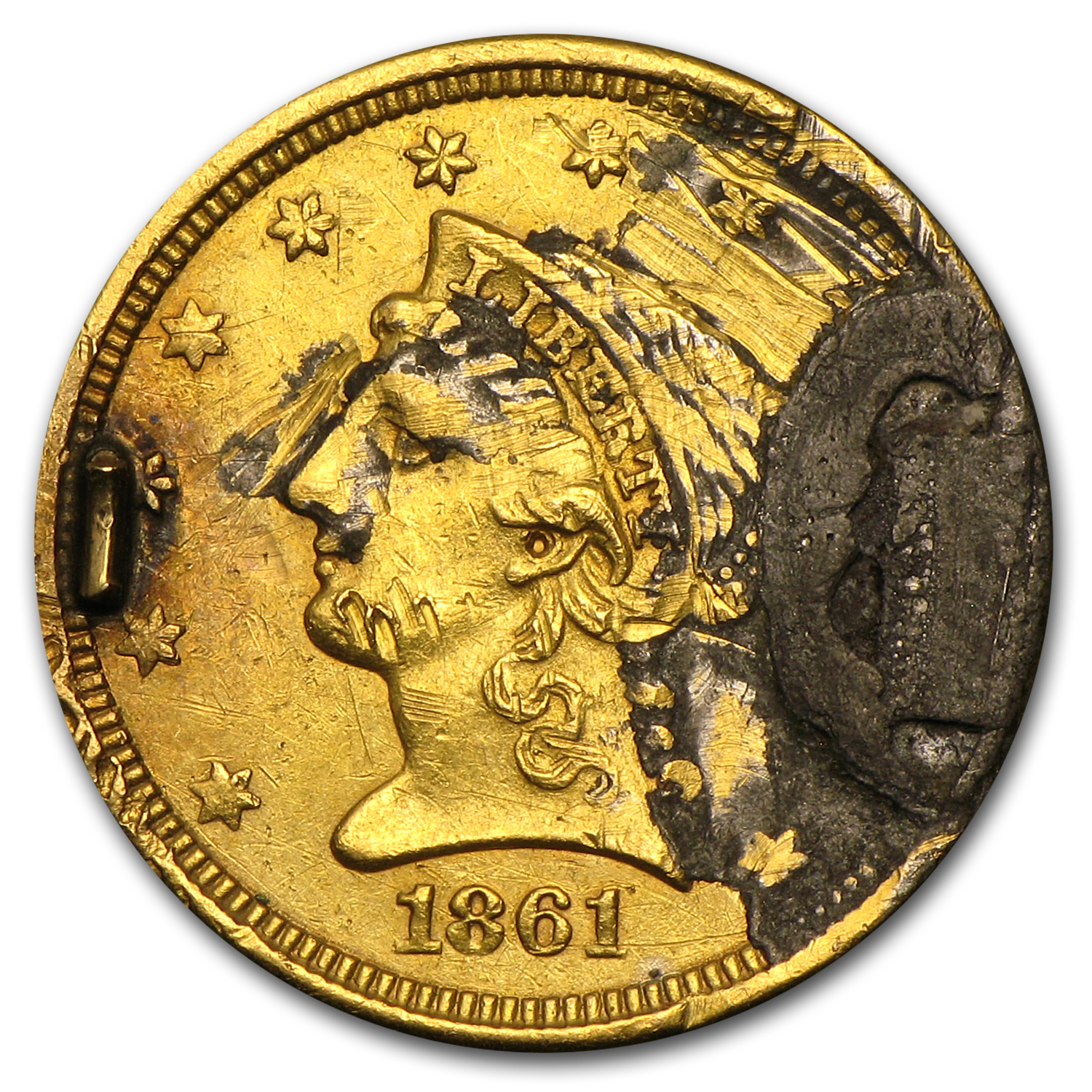 $2.50 Liberty Gold Quarter Eagle - 1861 Love Token - N P M