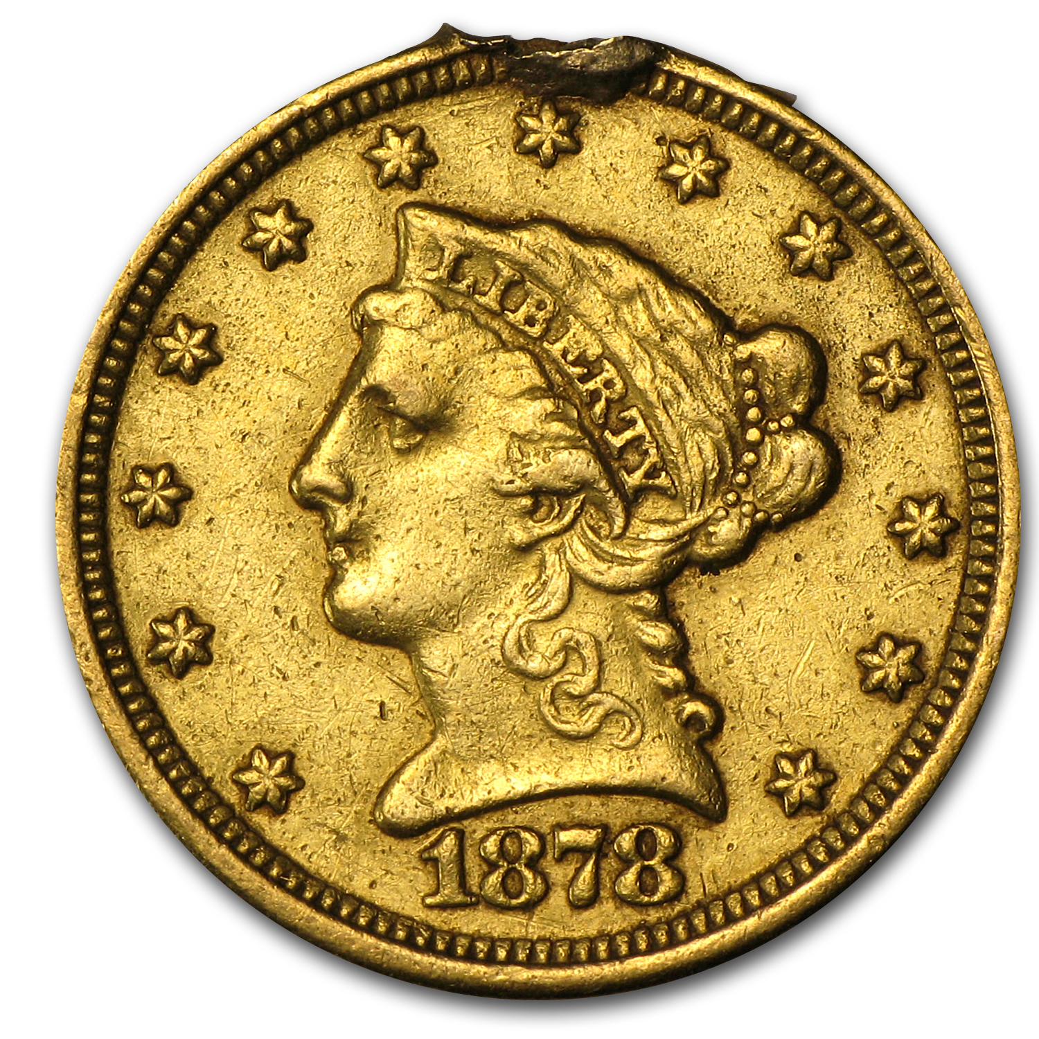 $2.50 Liberty Gold Quarter Eagle - 1878 Love Token - '92