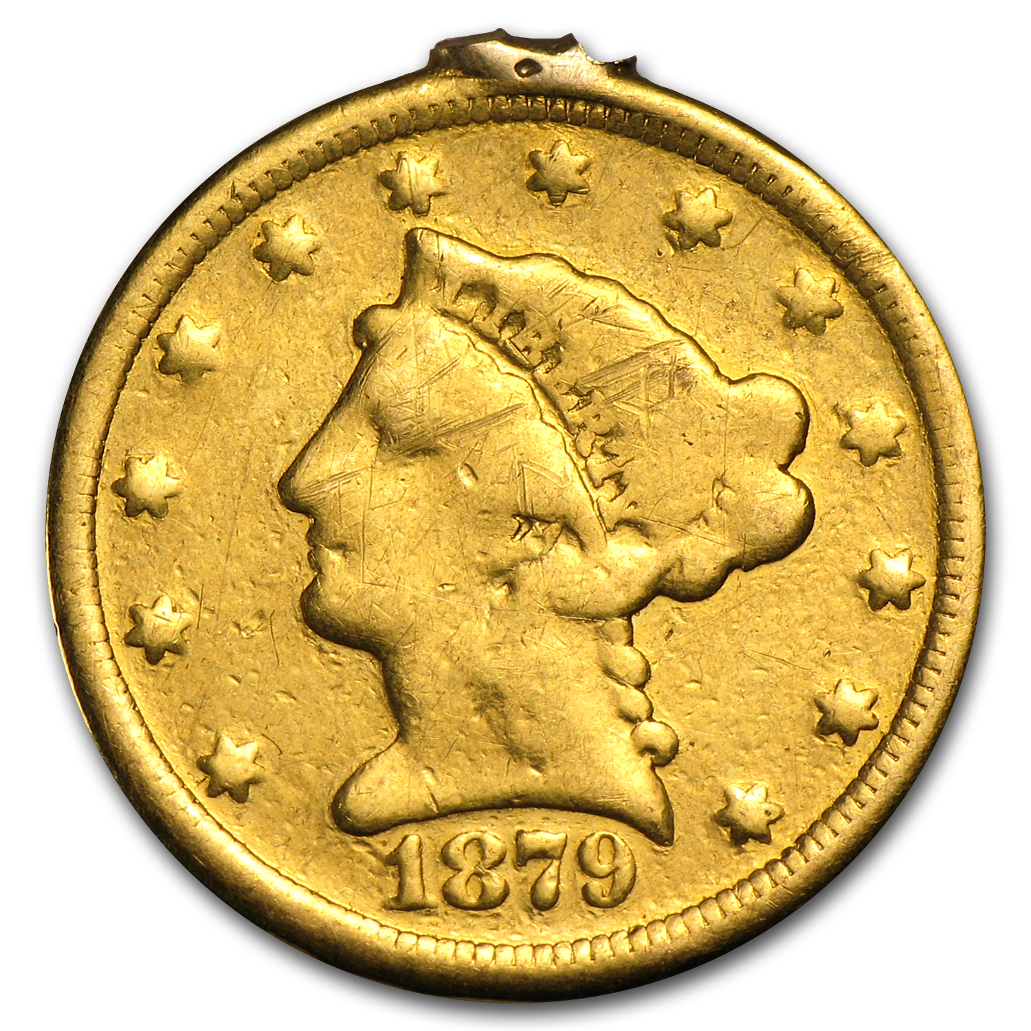 $2.50 Liberty Gold Quarter Eagle - 1879 - Love Token - S W H