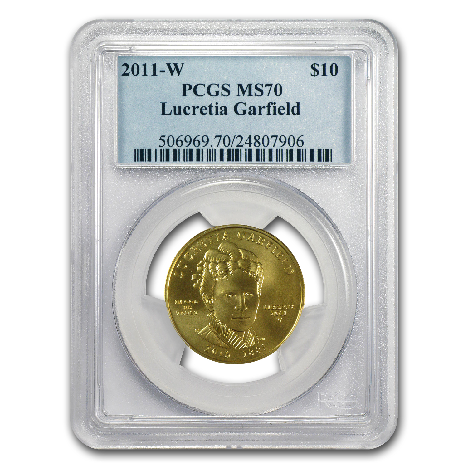 2011-W 1/2 oz Gold Lucretia Garfield MS-70 PCGS