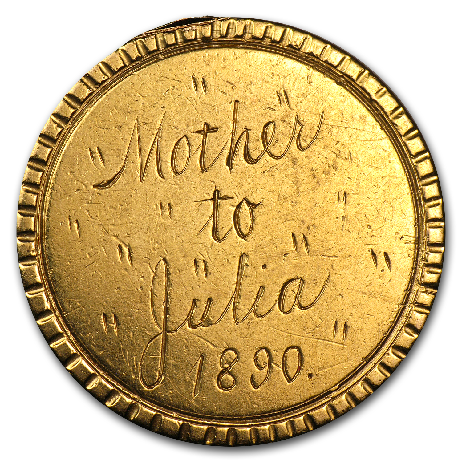 $10 Liberty Gold Eagle - No Date Love Token - Mother to Julia