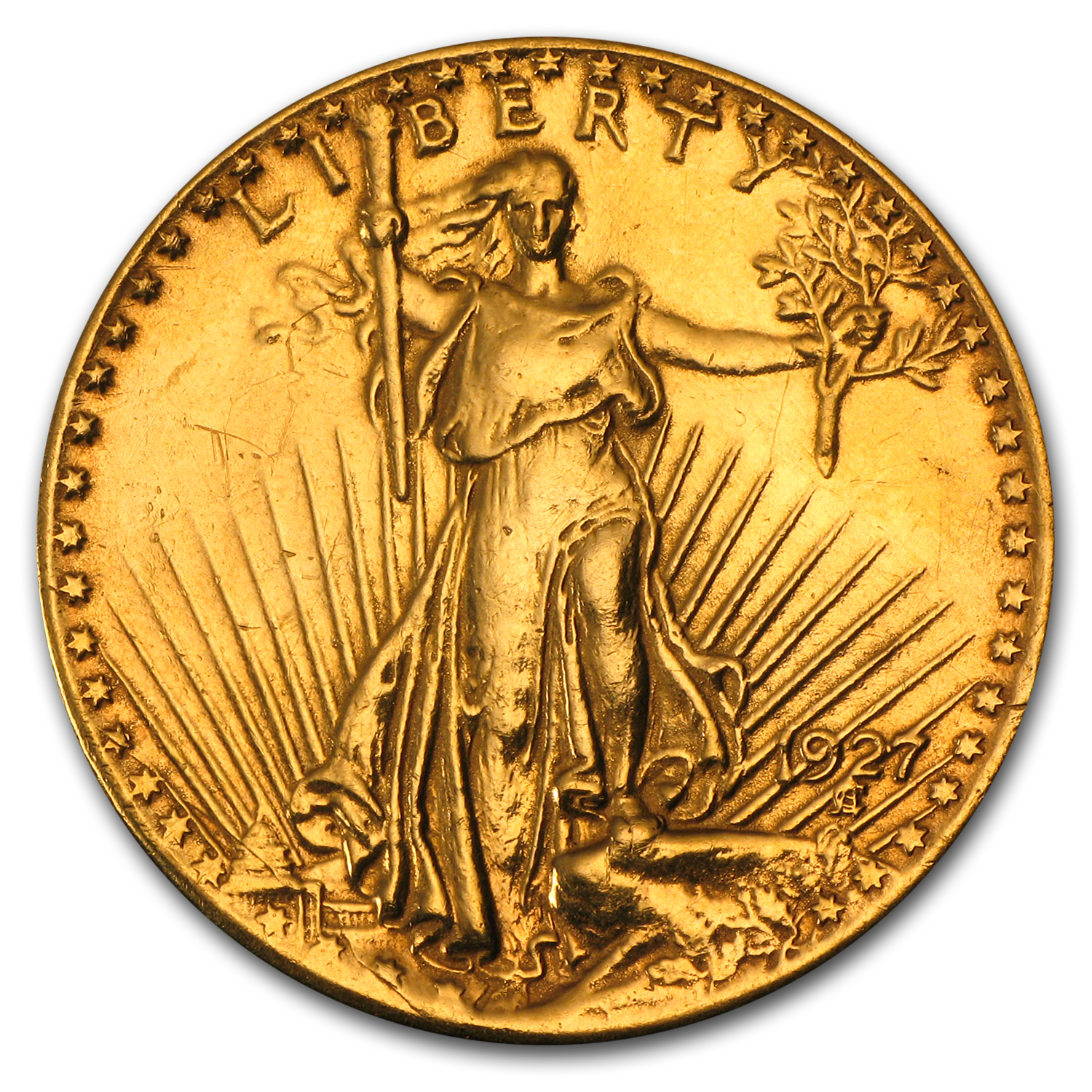 1927 $20 St. Gaudens Gold Double Eagle - Love Token - W L P