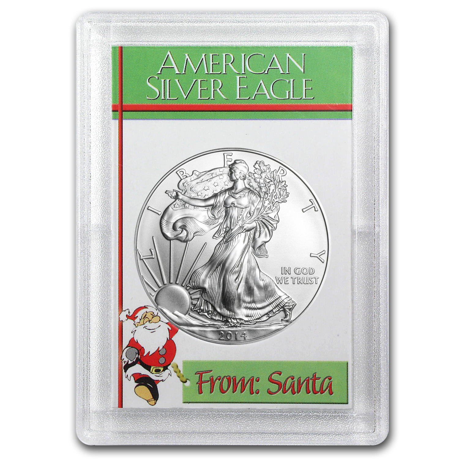 2014 1 oz Silver Eagle in the From Santa Design Harris Holder