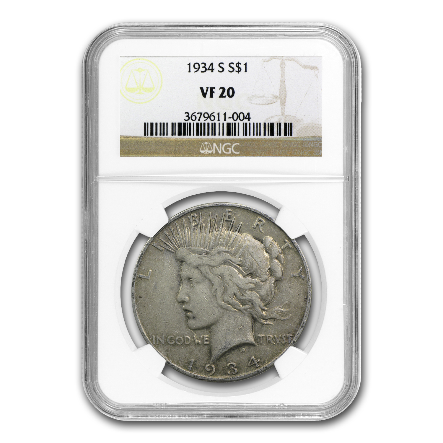 1934-S Peace Dollar VF-20 NGC