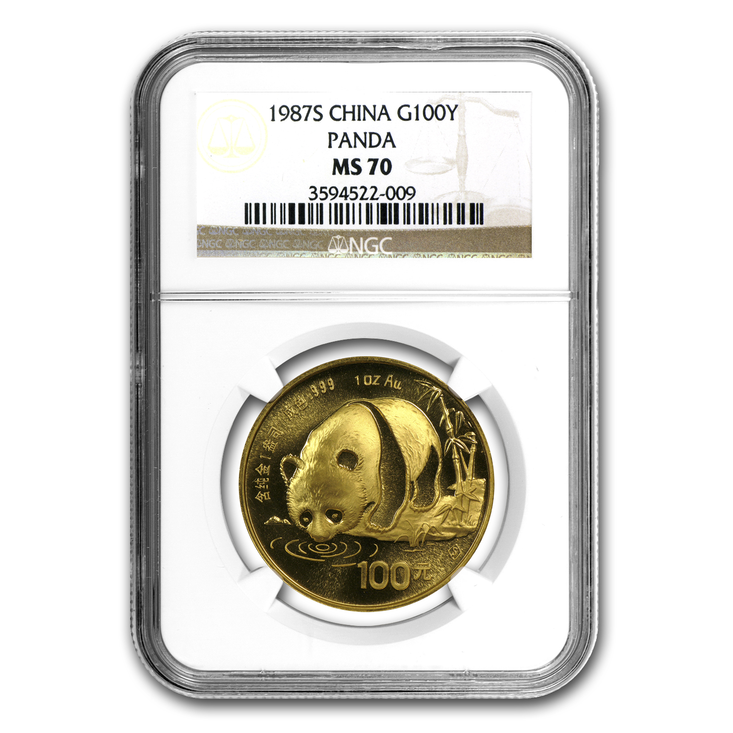 1987-S China 1 oz Gold Panda MS-70 NGC