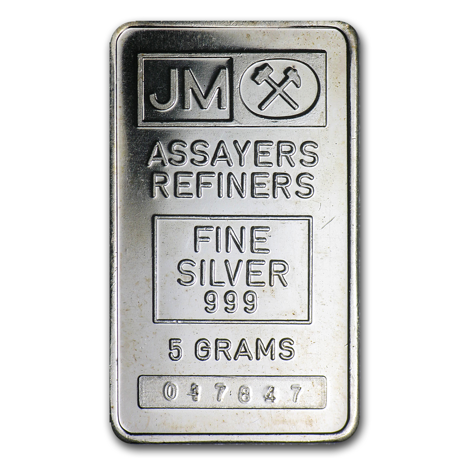 5 gram Silver Bar - Johnson Matthey (Plain Reverse)