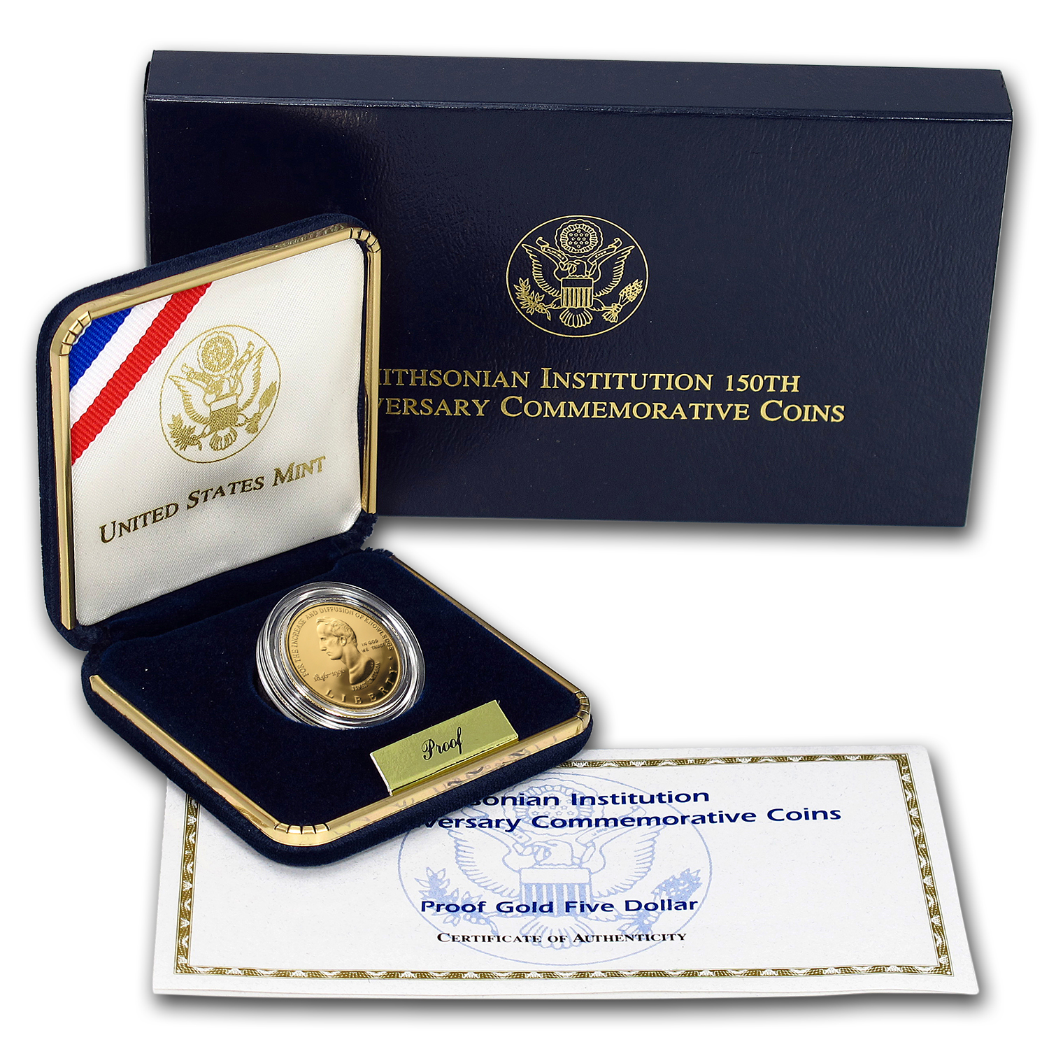 1996-W Gold $5 Commem Smithsonian Anniversary Prf (w/Box & COA)