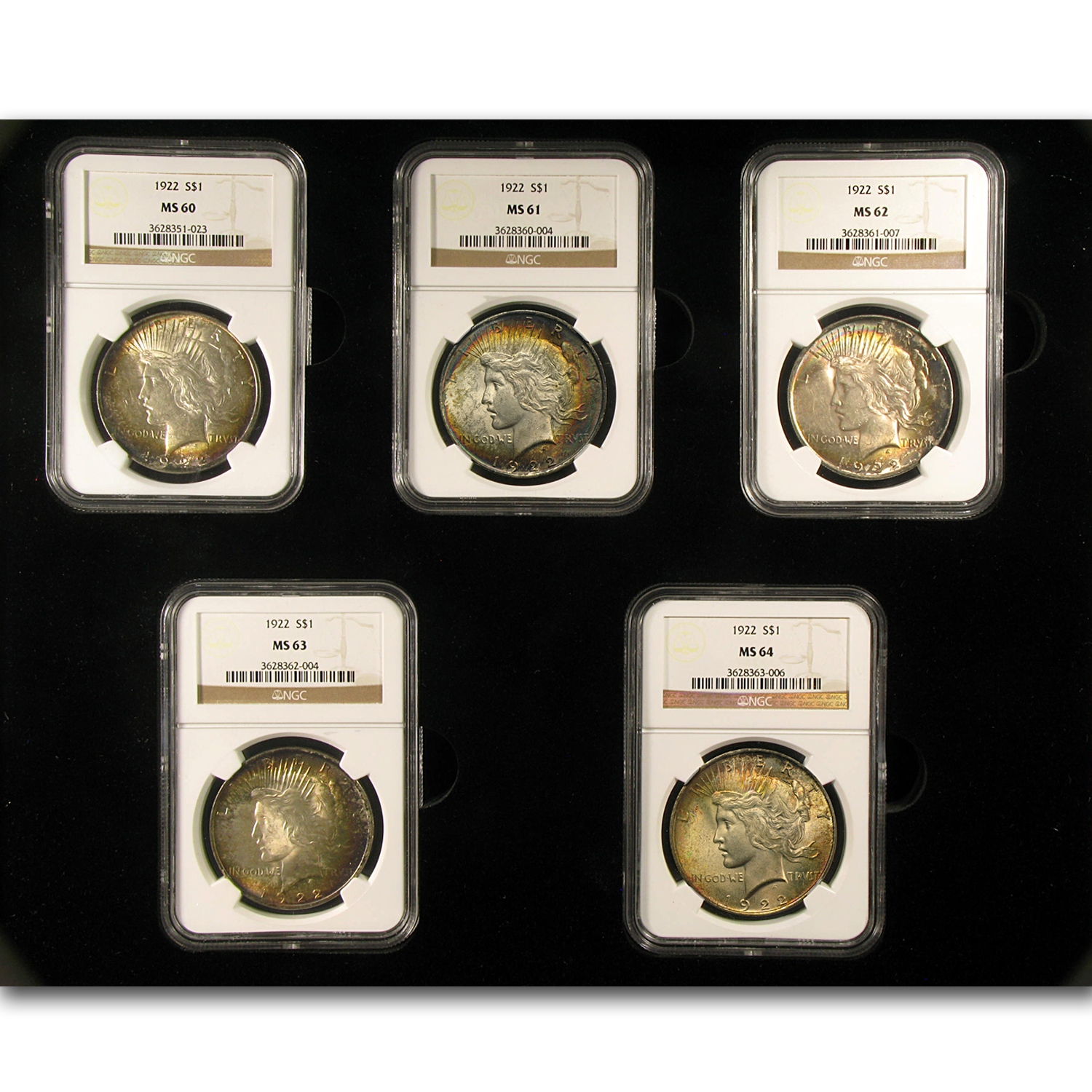 1922 Peace Silver Dollar Set MS-60 to MS-64 Beautifully Toned