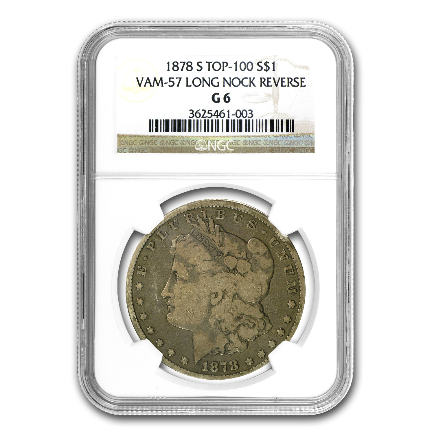1878-S Morgan Dollar - Good-6 NGC VAM-57 Long Nock Top-100