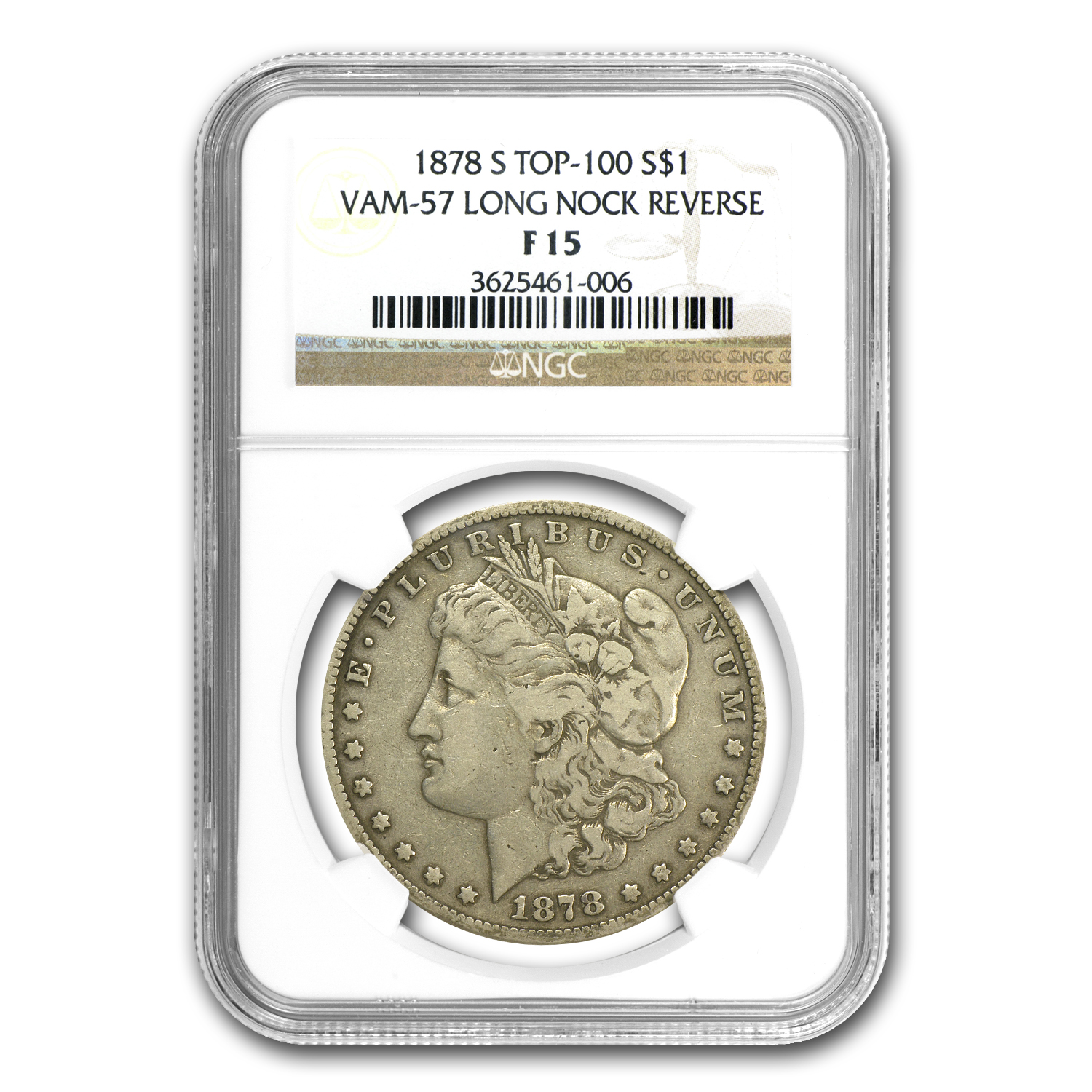 1878-S Morgan Dollar Fine-15 NGC (VAM-57, Long Nock, Top-100)