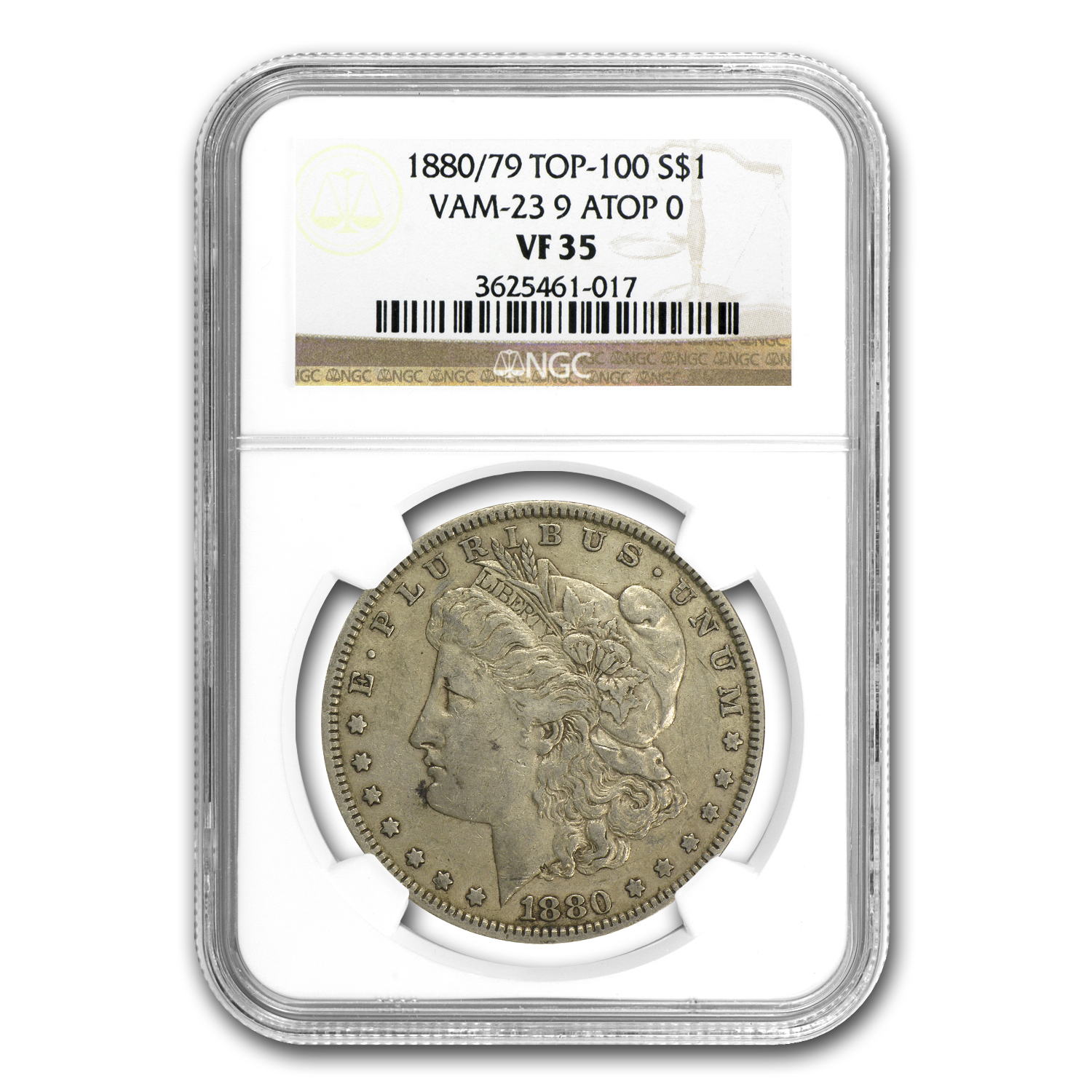 1880/79 Morgan Dollar VF-35 NGC (VAM-23, 80/79 Overdate, Top-100)