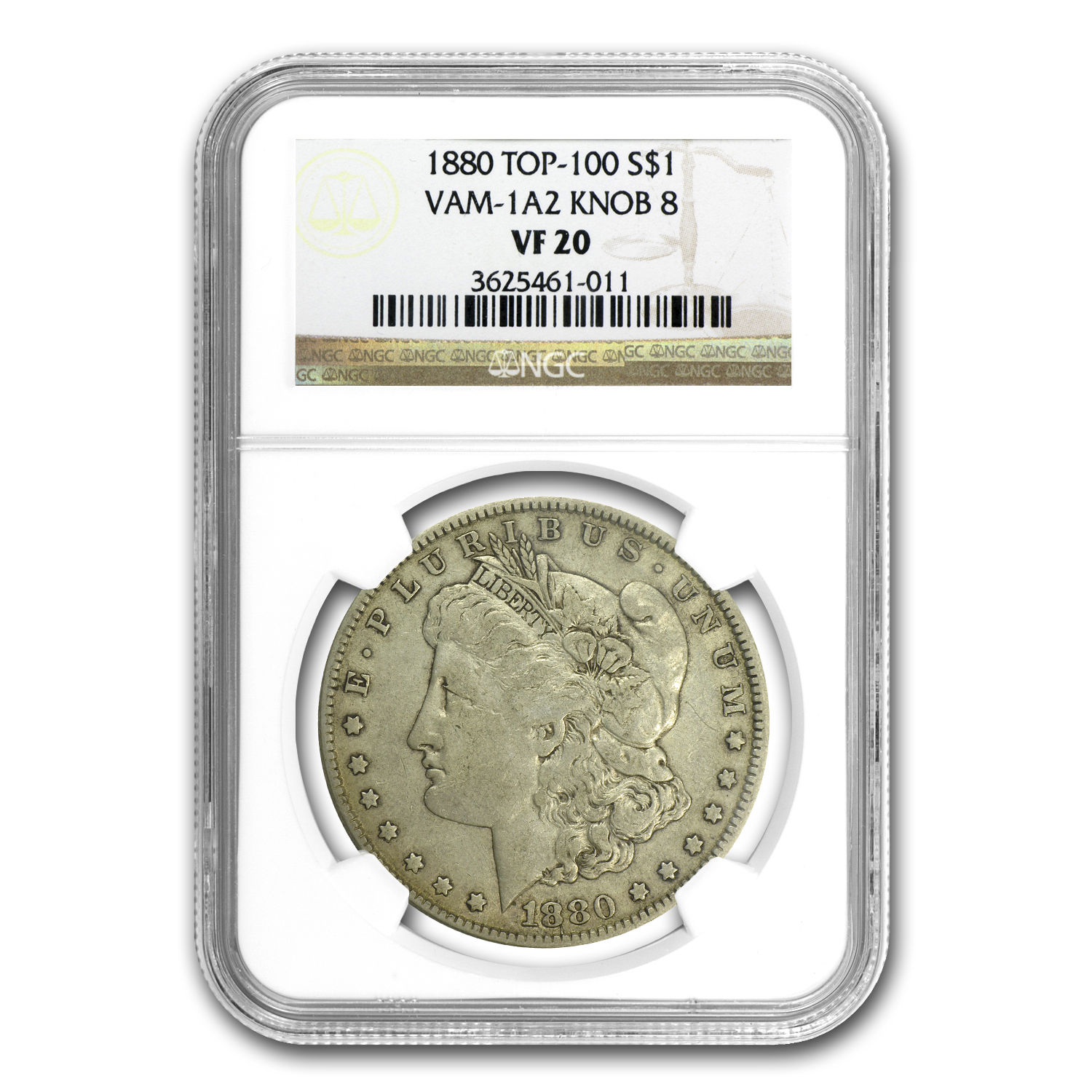 1880 Morgan Dollar VF-20 NGC (VAM-1A2, Knobbed 8, Top-100)