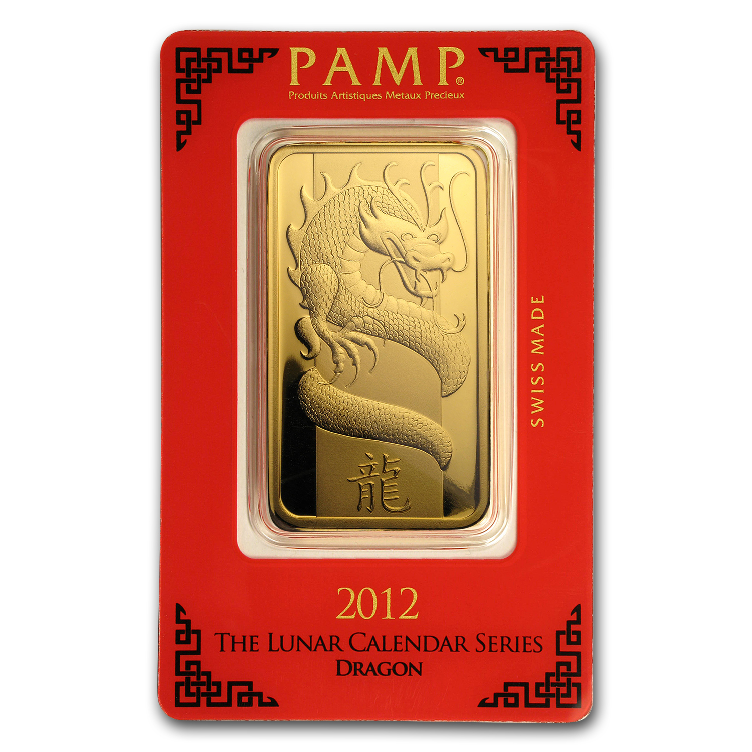 100 gram Gold Bars - Pamp Suisse (Year of the Dragon, in Assay)