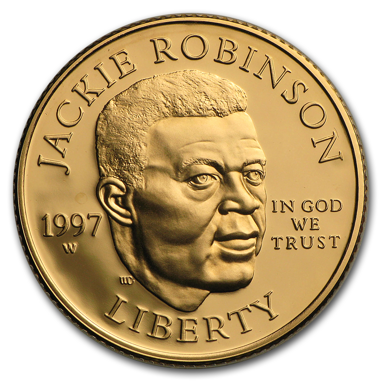 1997-W Gold $5 Commem Jackie Robinson Proof (w/Box & COA)