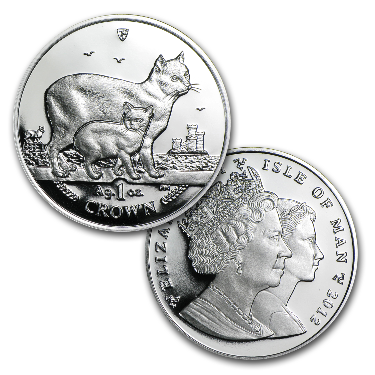 1988-2012 Isle of Man 25-Coin 1 oz Silver Cat Proof Set