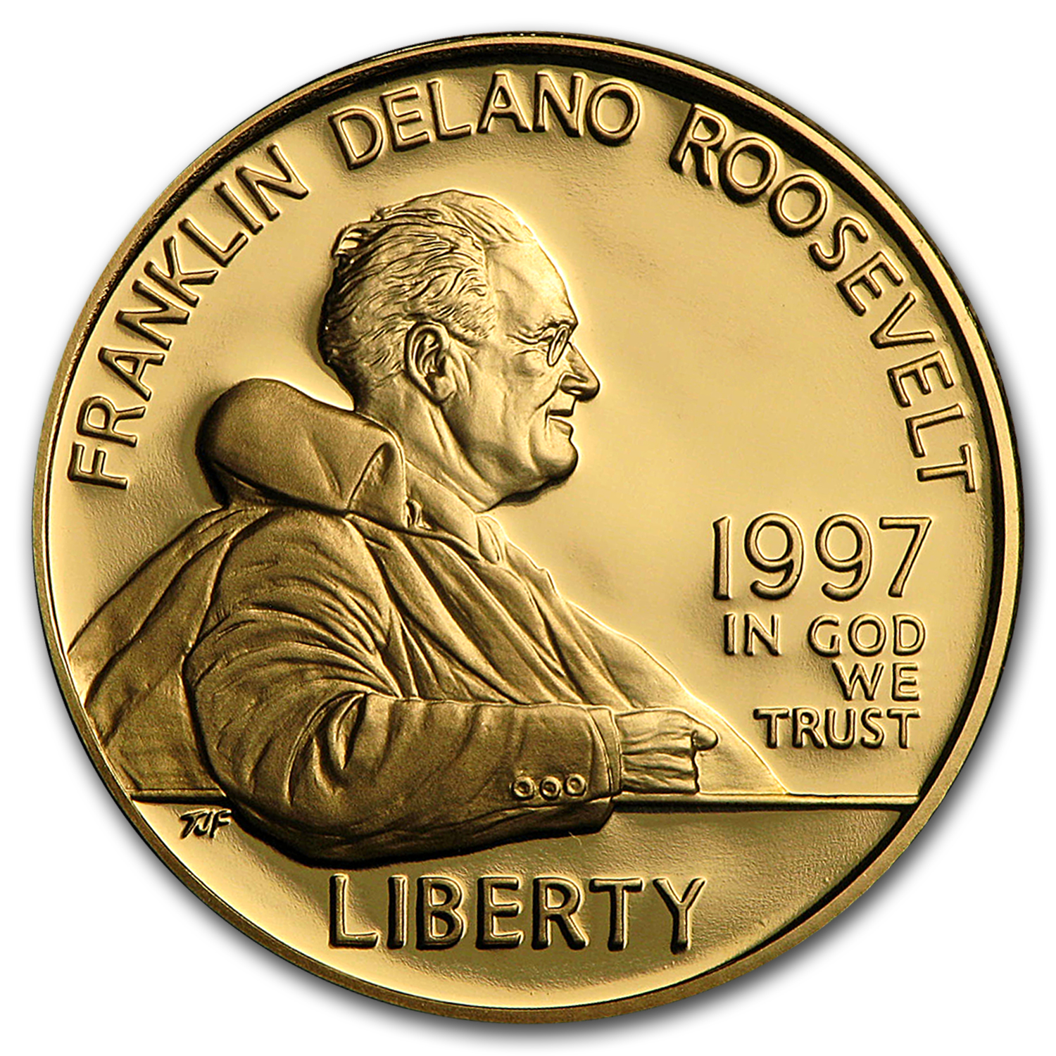 1997-W Gold $5 Commem Franklin D. Roosevelt Proof (w/Box & COA)
