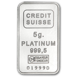 5 gram Credit Suisse Platinum Bar (no assay) .999+ Fine