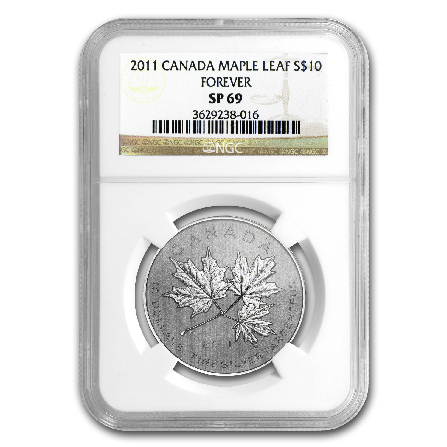 2011 Canada 1/2 oz Silver $10 Maple Leaf Forever SP-69 NGC