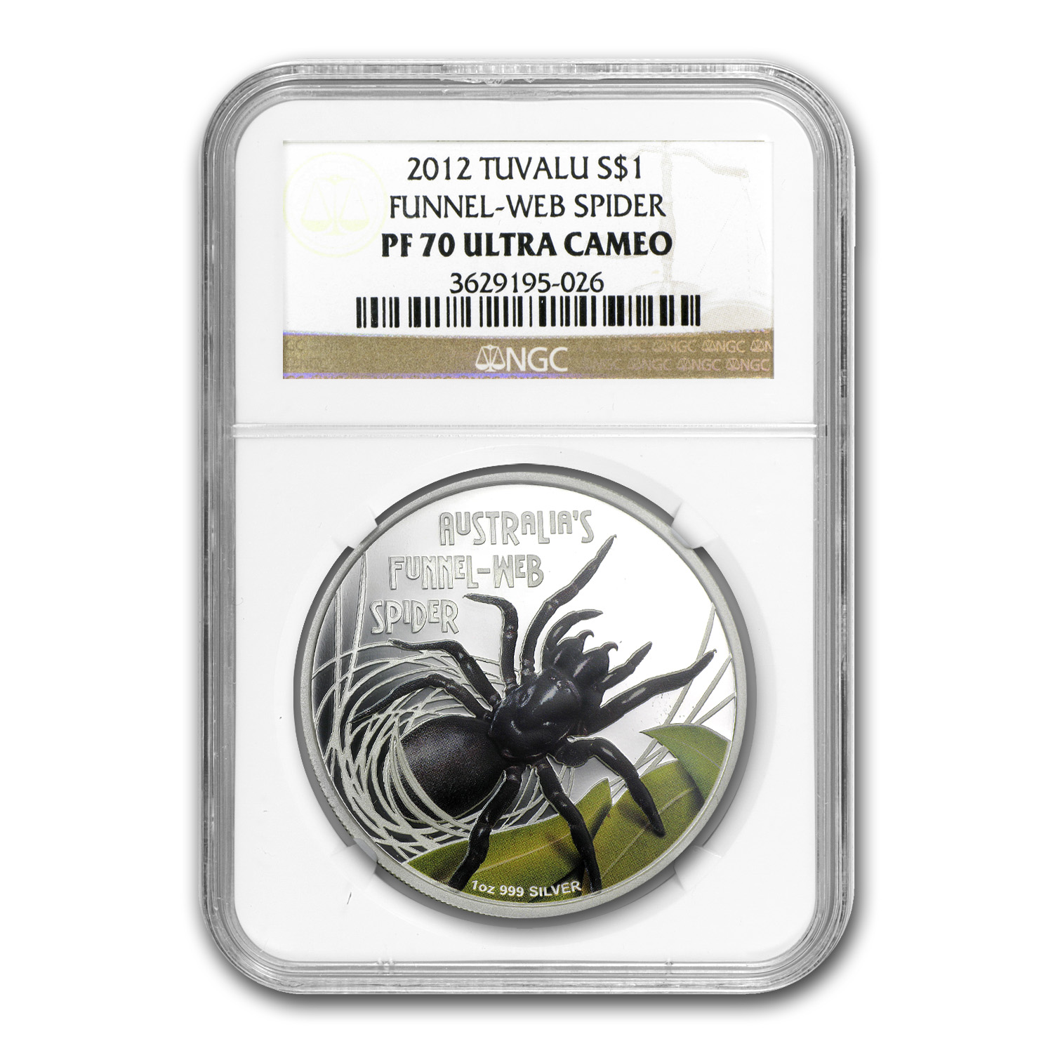 2012 Tuvalu 1 oz Silver Funnel Web Spider PF-70 NGC