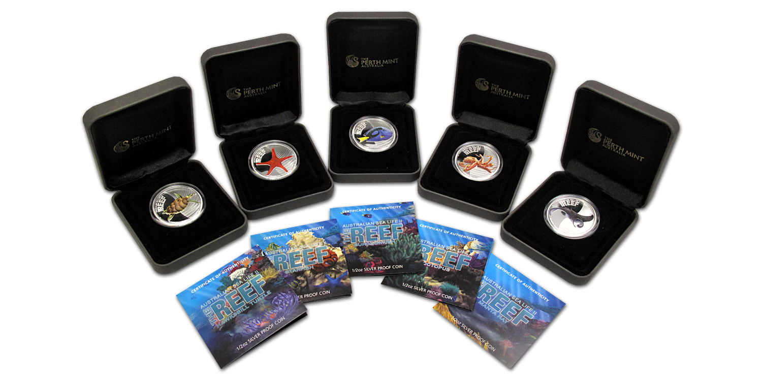 2011-12 Australia 5-Coin 1/2 oz Silver Sea Life II Proof Set