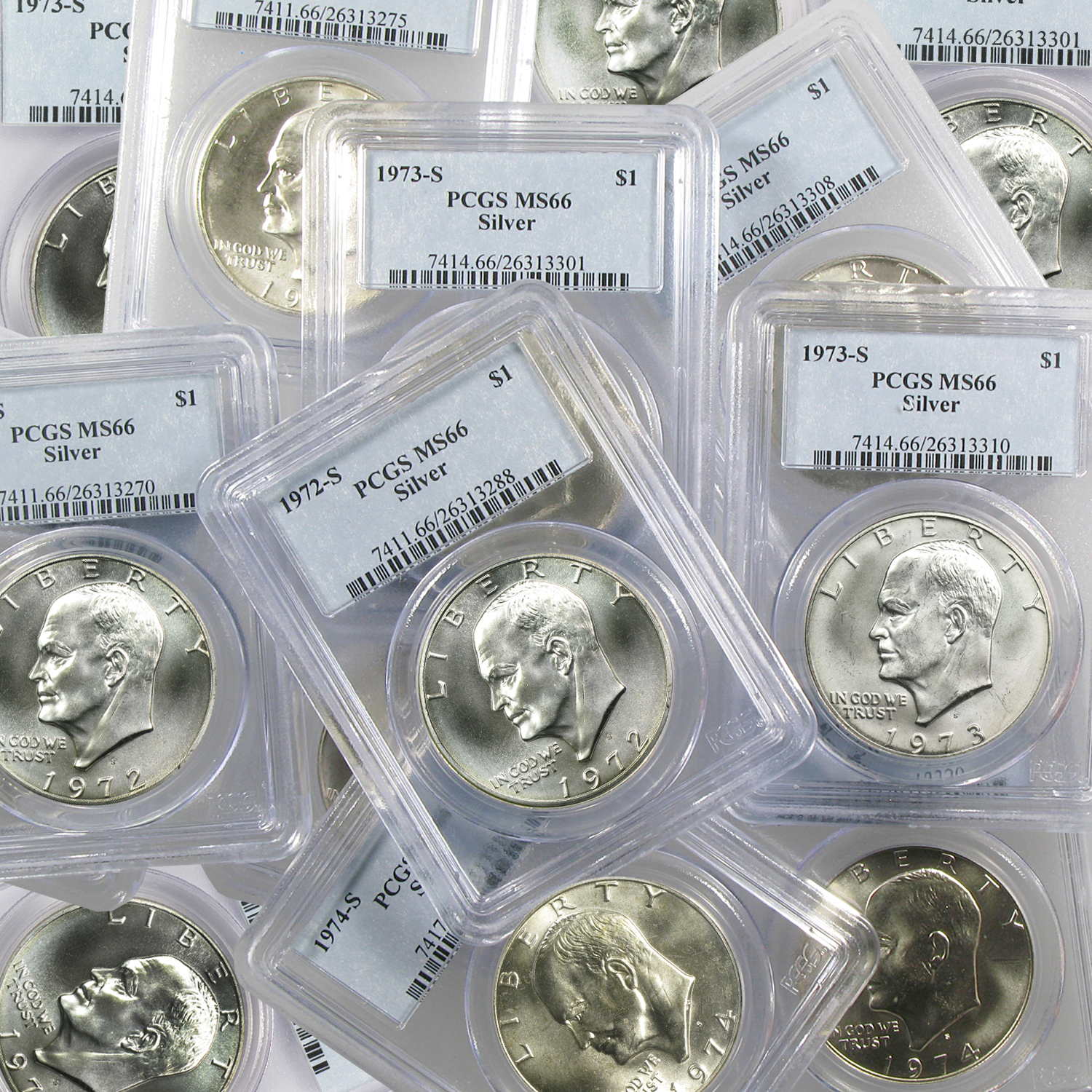 1971-1976 40% Silver Eisenhower Dollars MS-66 PCGS