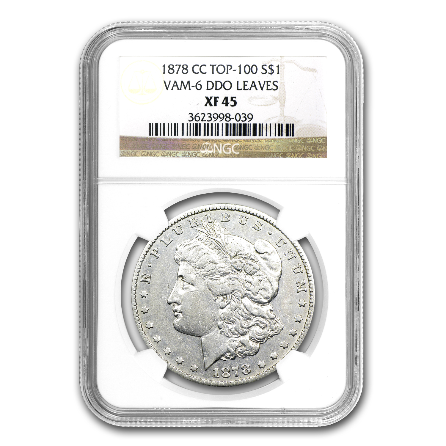1878-CC Morgan Dollar XF-45 NGC (VAM-6, DDO Leaves, Top-100)