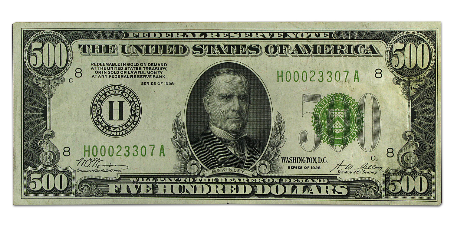 1928 (H-St. Louis) $500 FRN (Very Fine +)