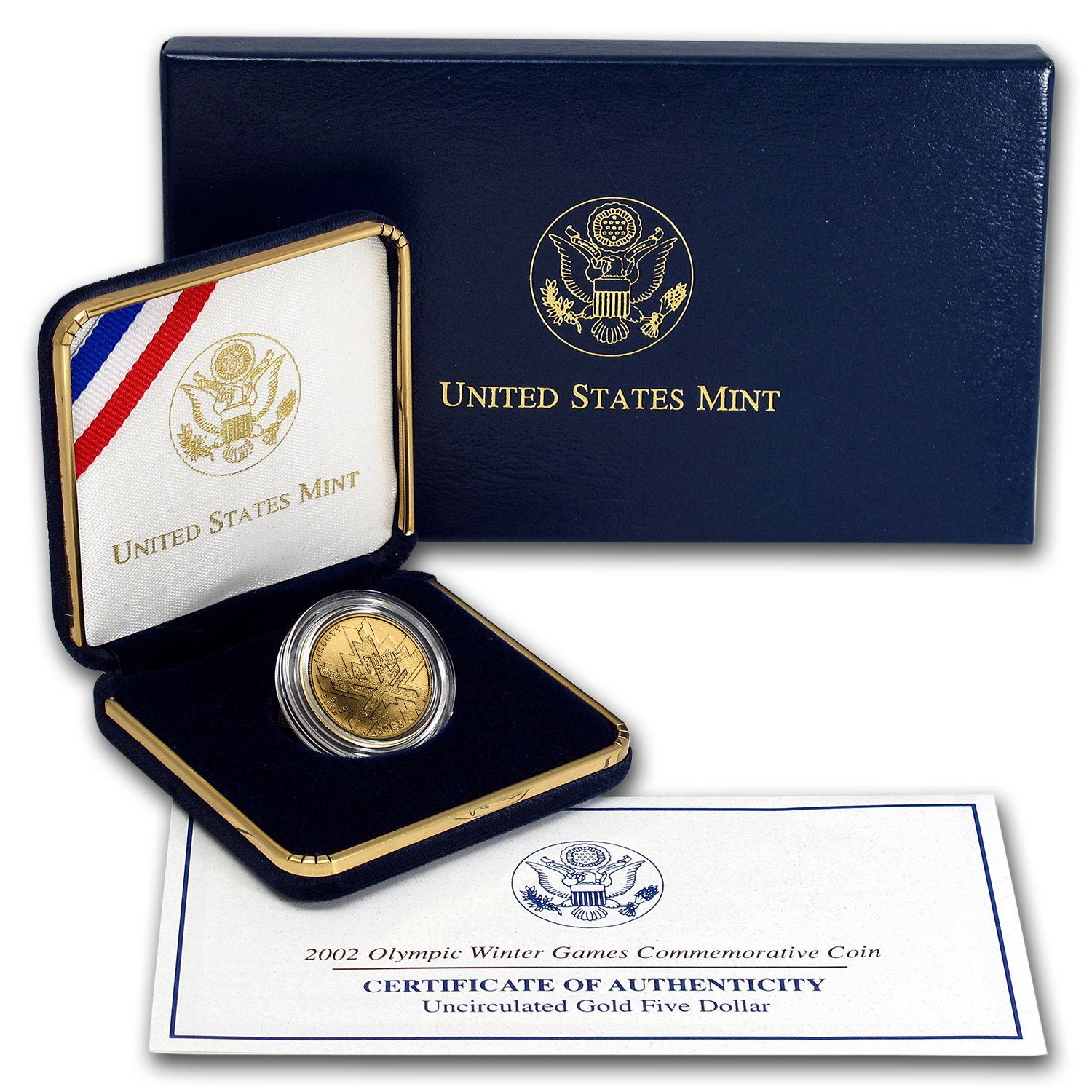 2002-W Gold $5 Commem Olympic Winter Games BU (w/Box & COA)